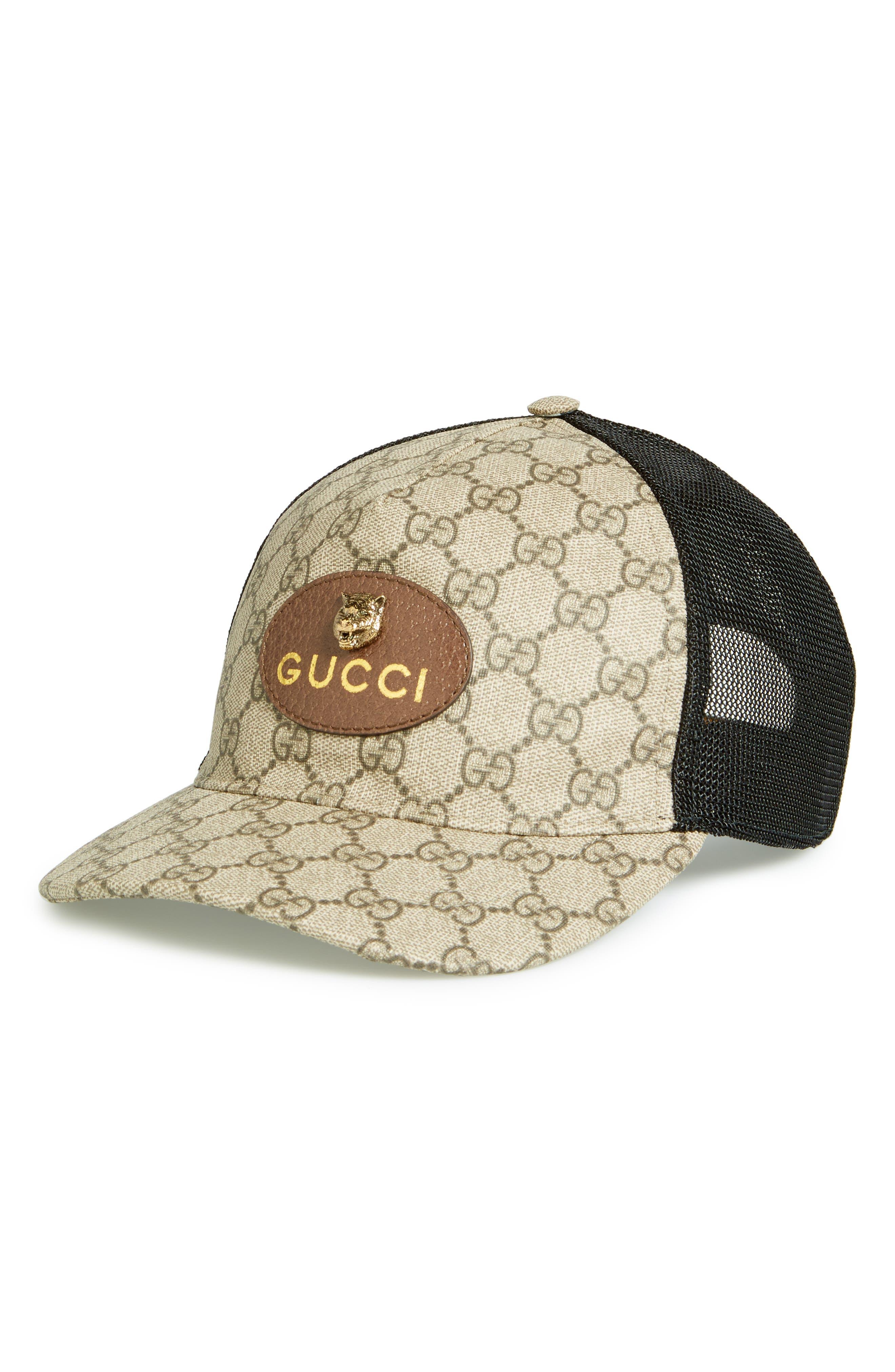 GG Supreme Patch Trucker Hat,                         Main,                         color, Dark Brown