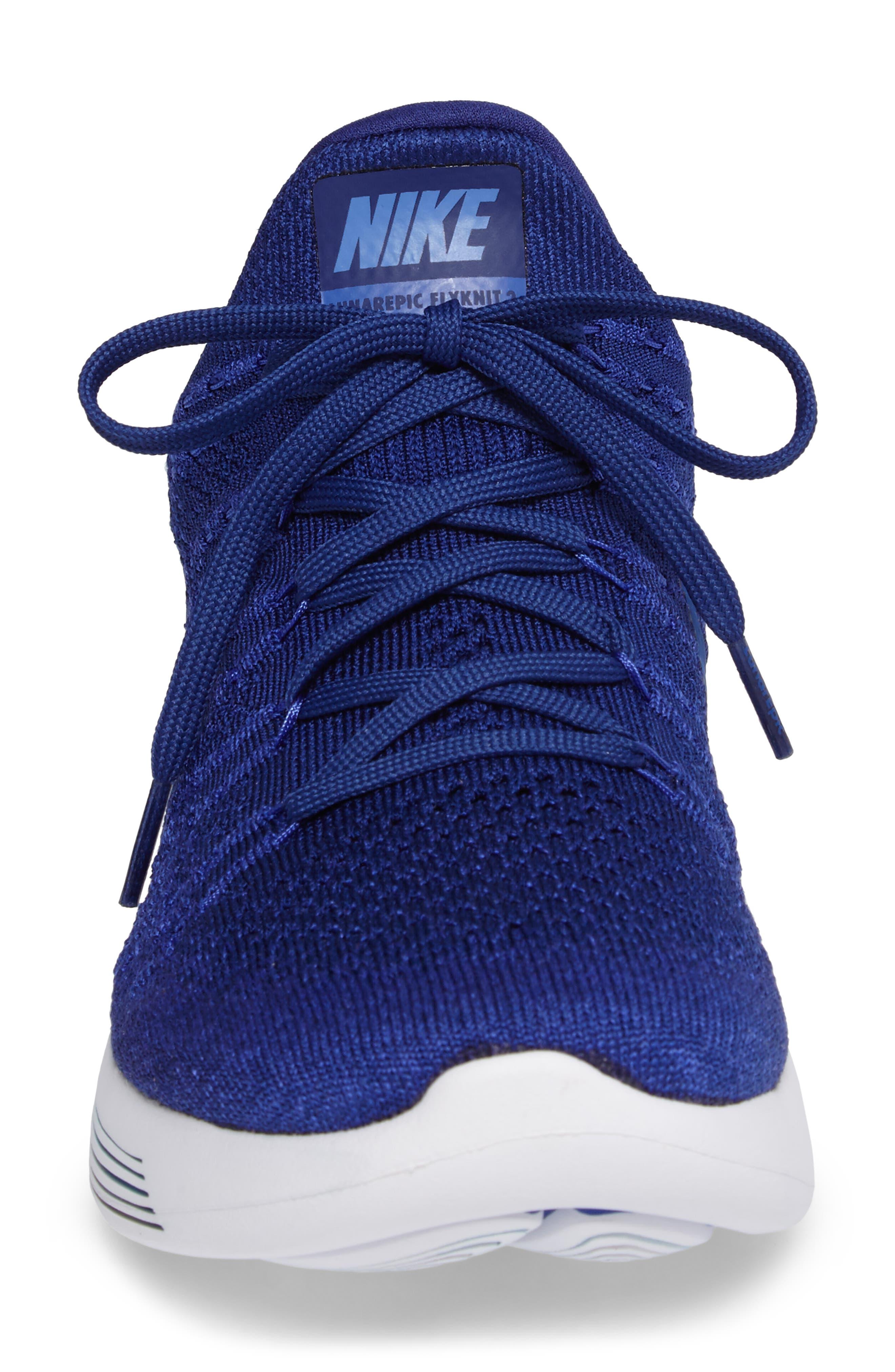 Flyknit 2 LunarEpic Running Shoe,                             Alternate thumbnail 4, color,                             Royal Blue/ Blue
