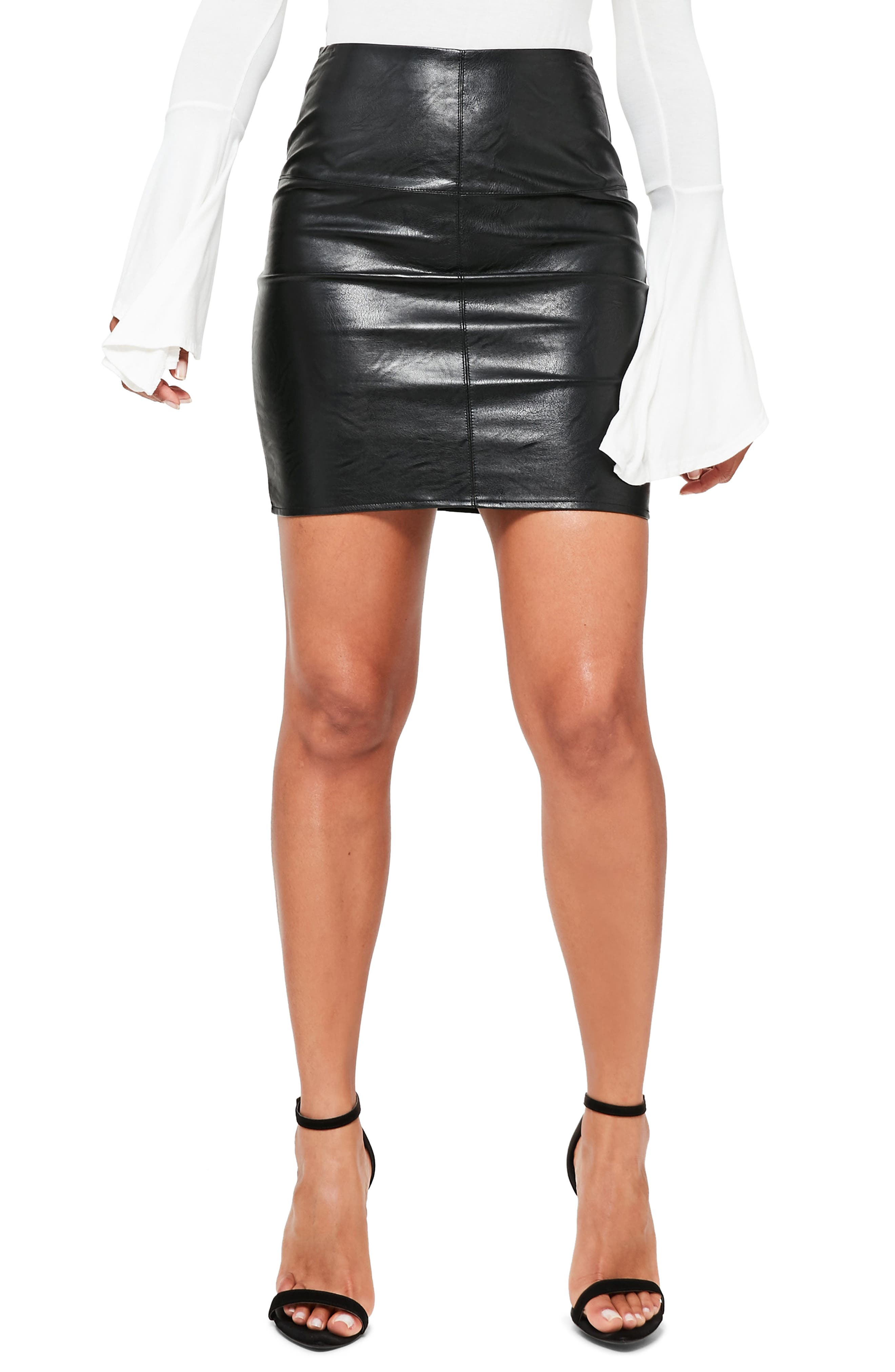 Missguided Faux Leather Mini Shirt