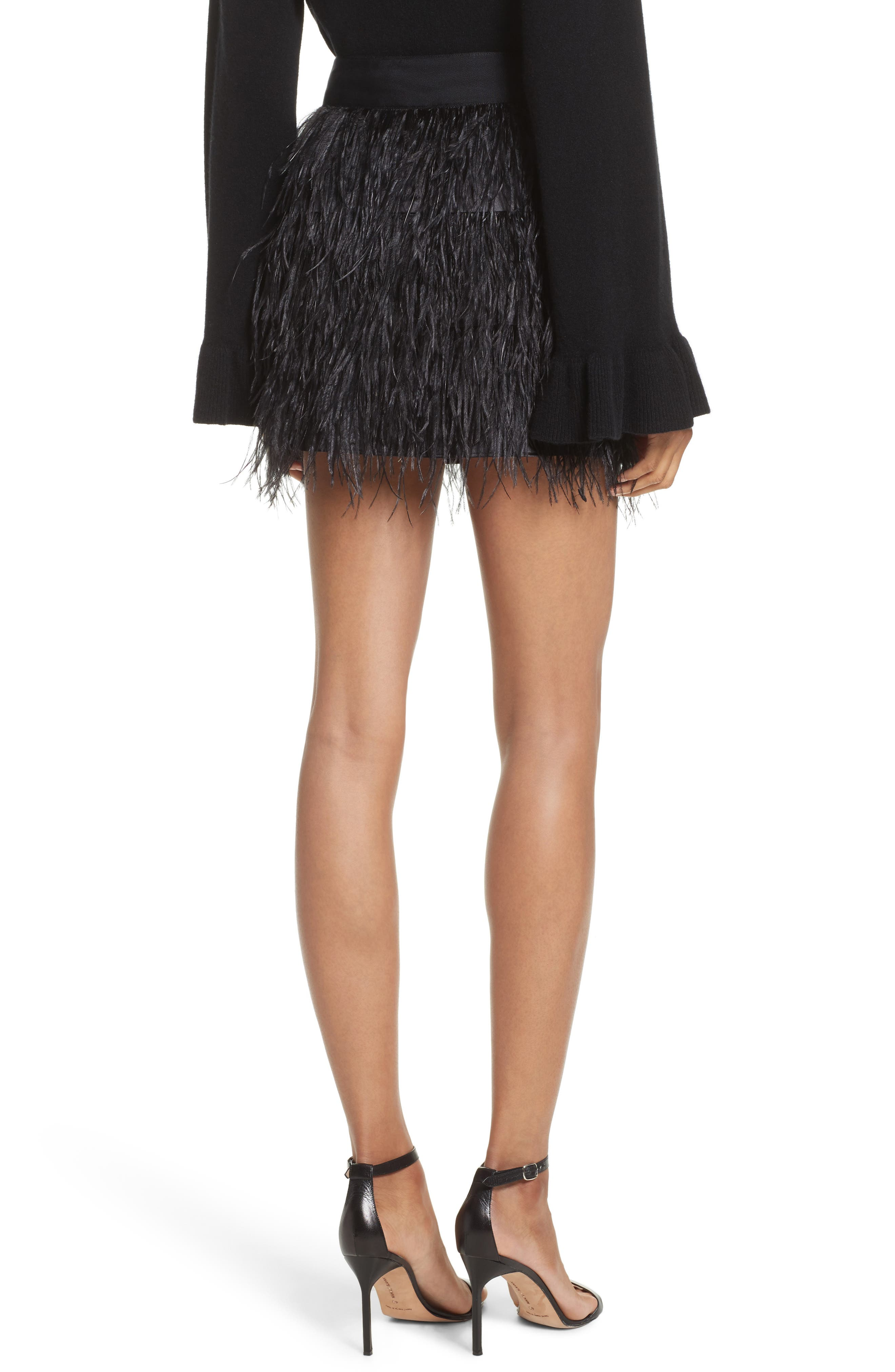 Feather Miniskirt,                             Alternate thumbnail 2, color,                             Black