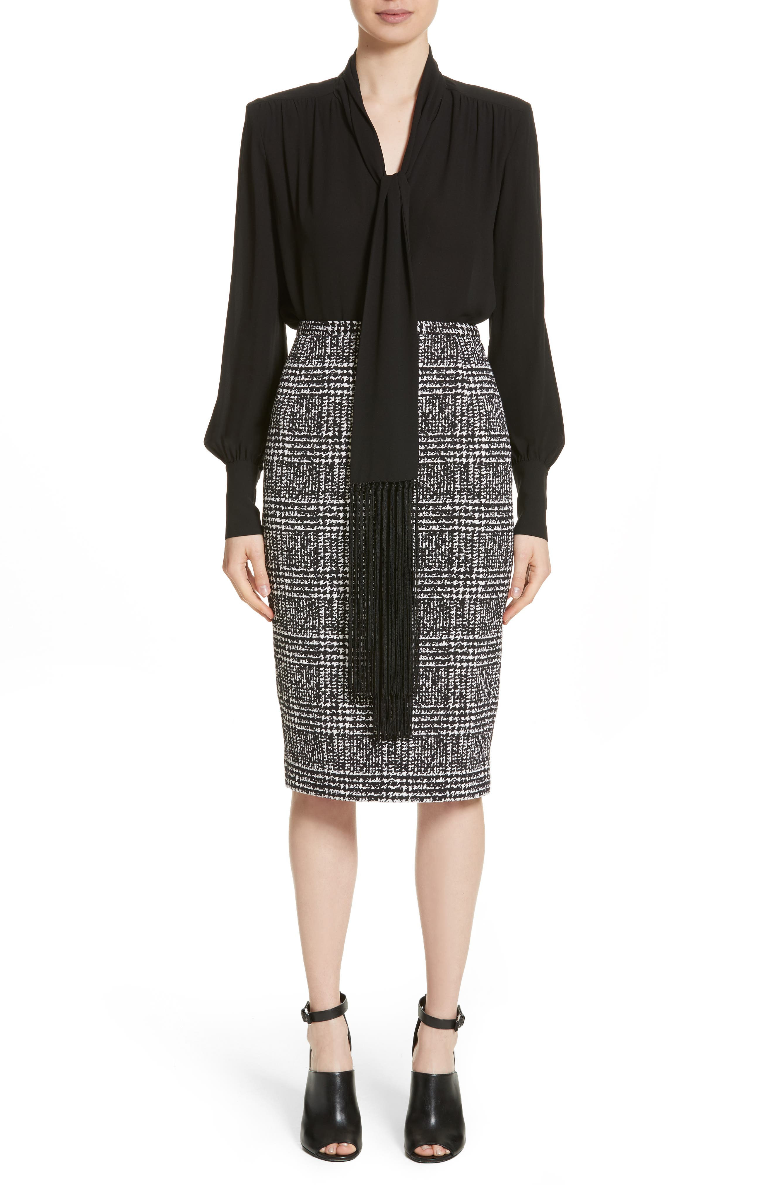 Alternate Image 7  - Michael Kors Glen Plaid Stretch Jacquard Skirt