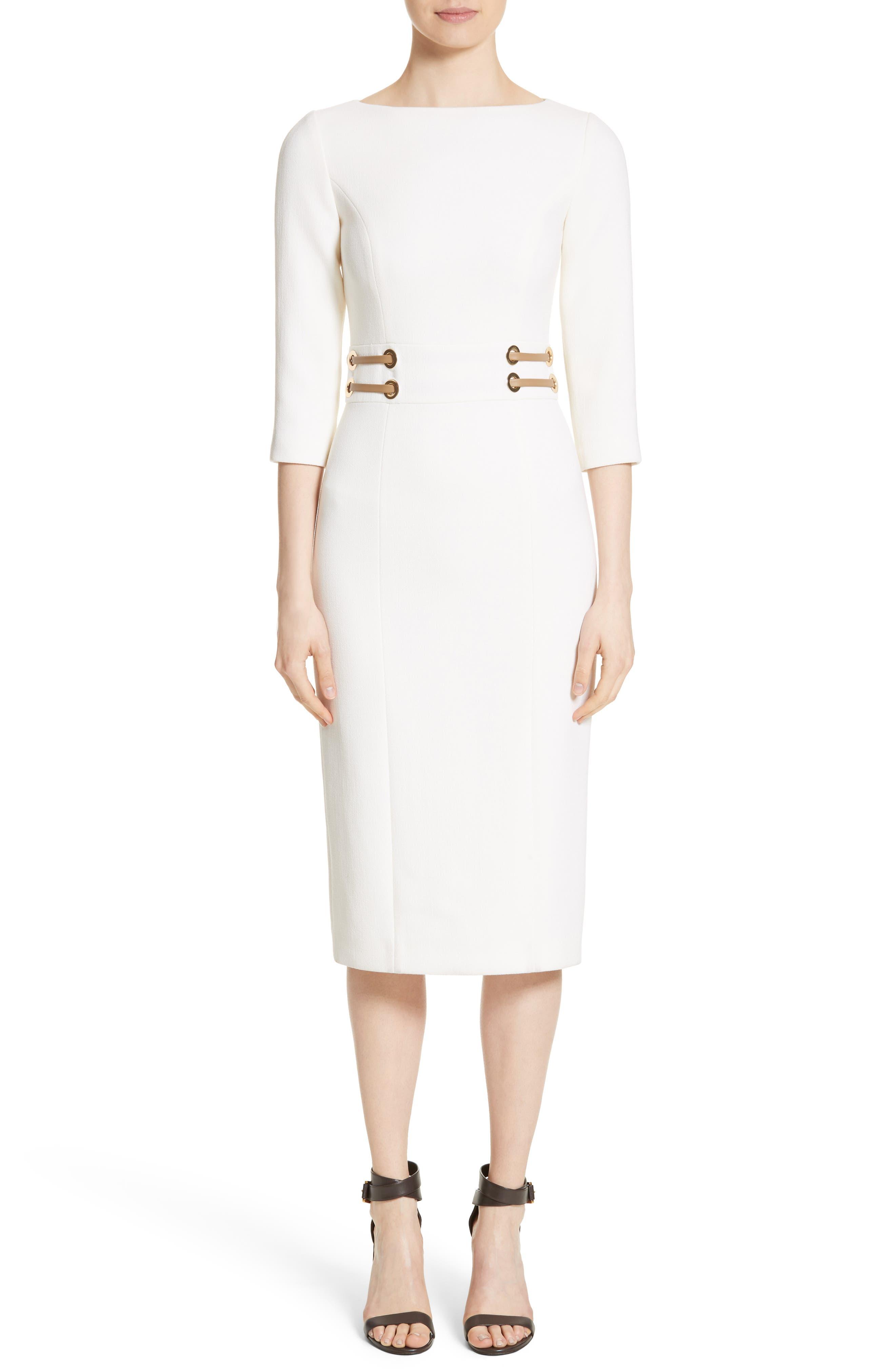 Leather Trim Stretch Bouclé Crepe Sheath Dress,                         Main,                         color, White