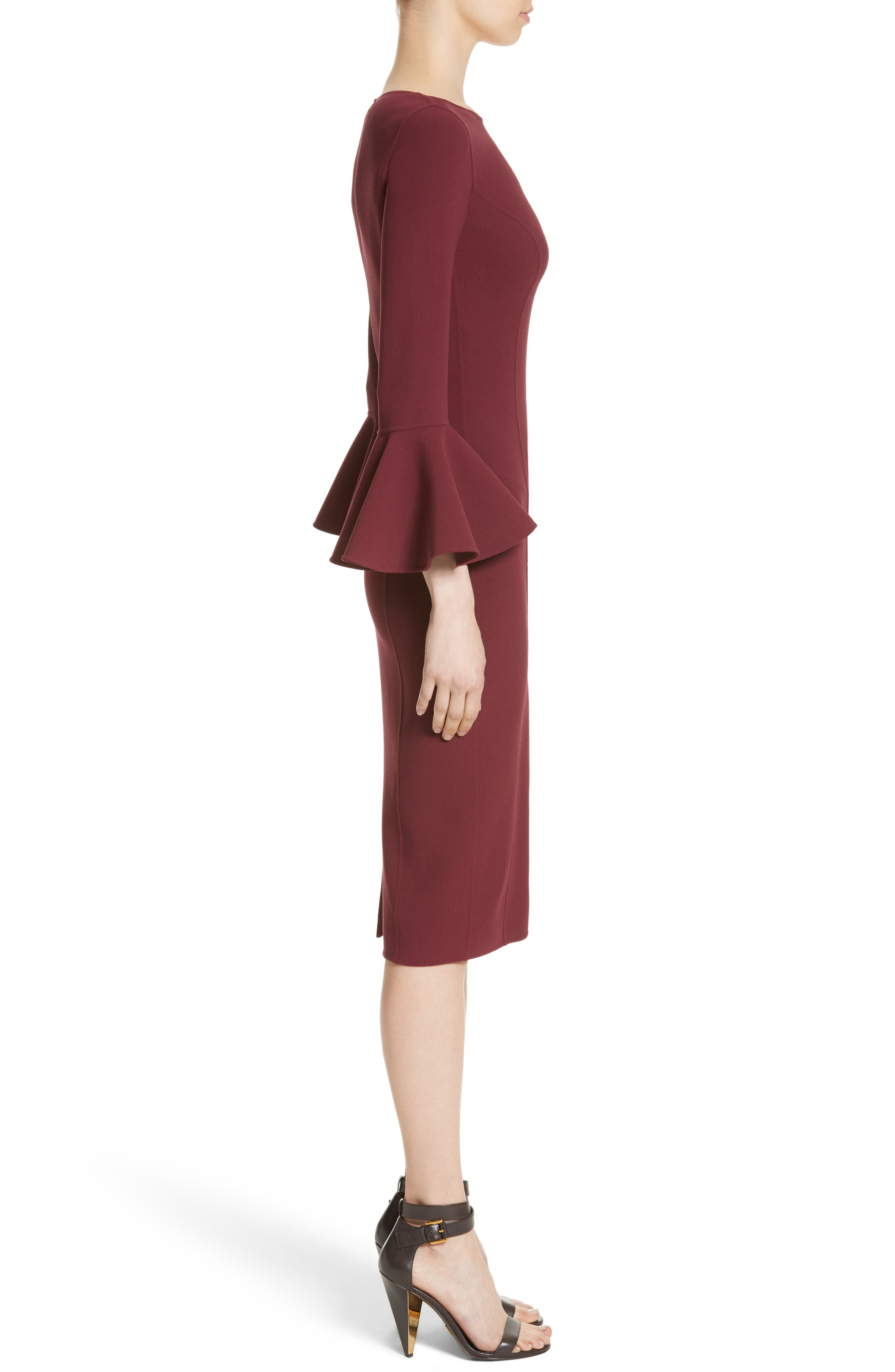 Bell Cuff Sheath Dress,                             Alternate thumbnail 6, color,                             Merlot