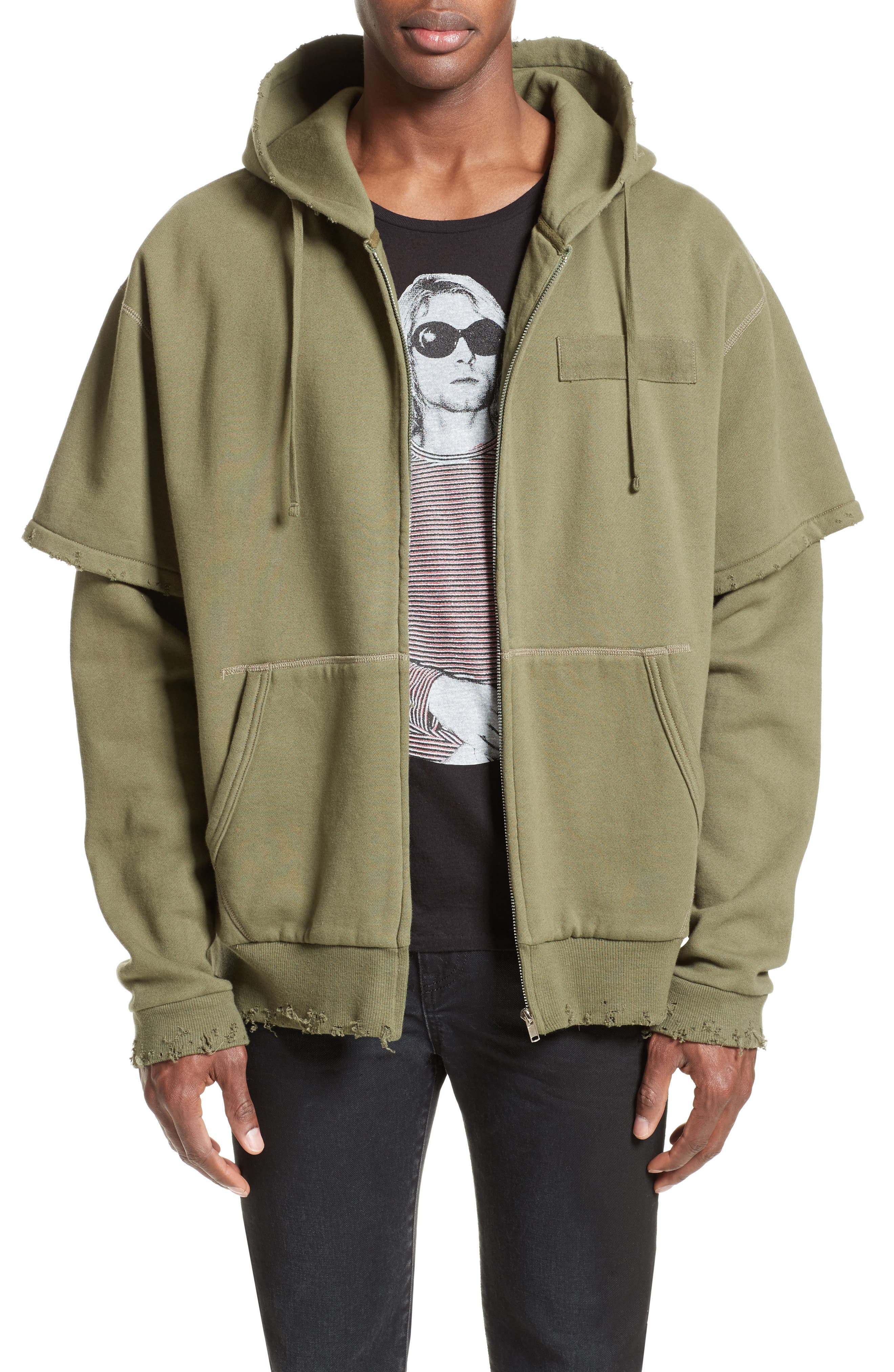 Shredded Double Sleeve Hoodie,                         Main,                         color, Olive