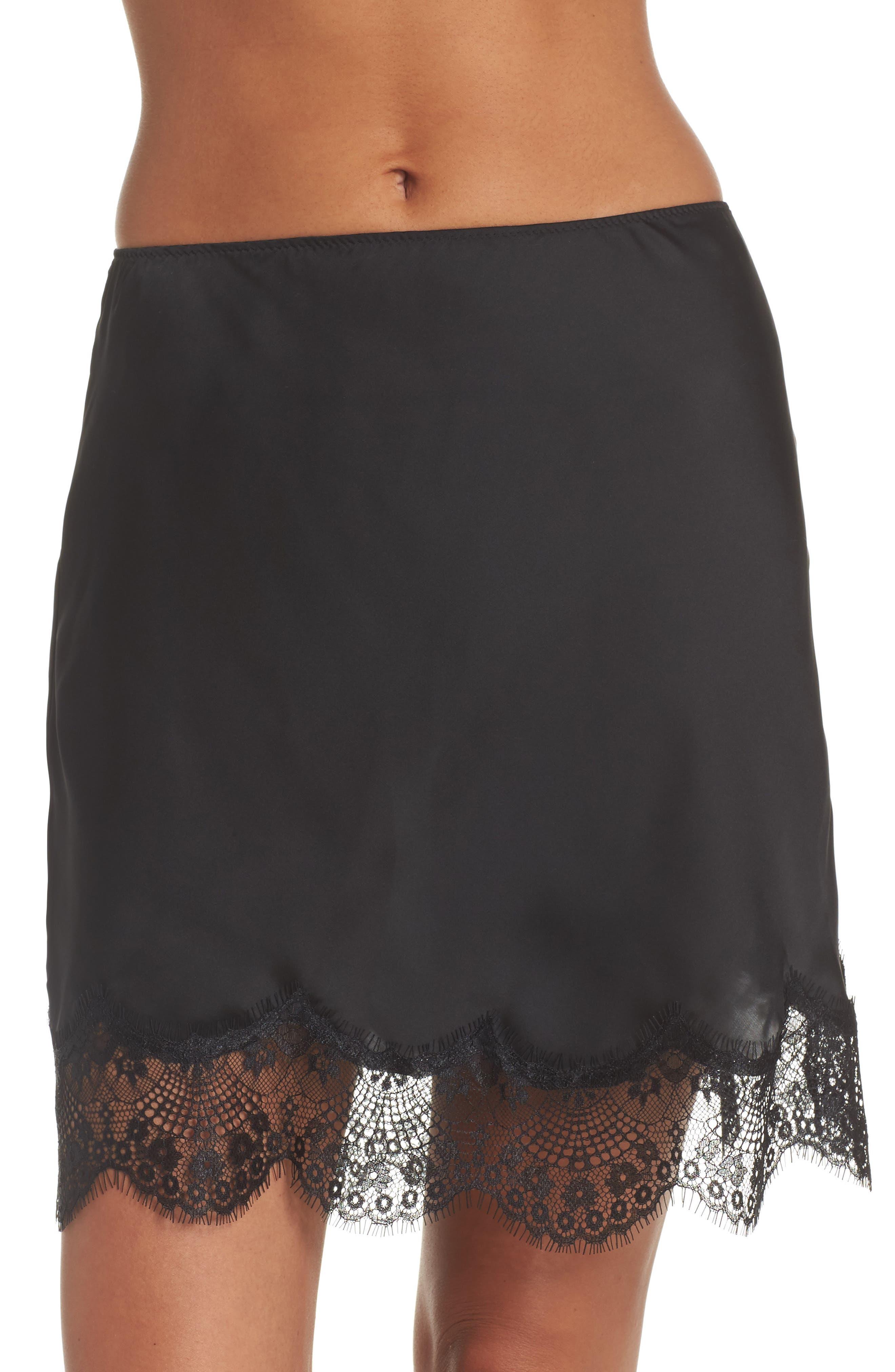 Lace Trim Half Slip,                         Main,                         color, Black