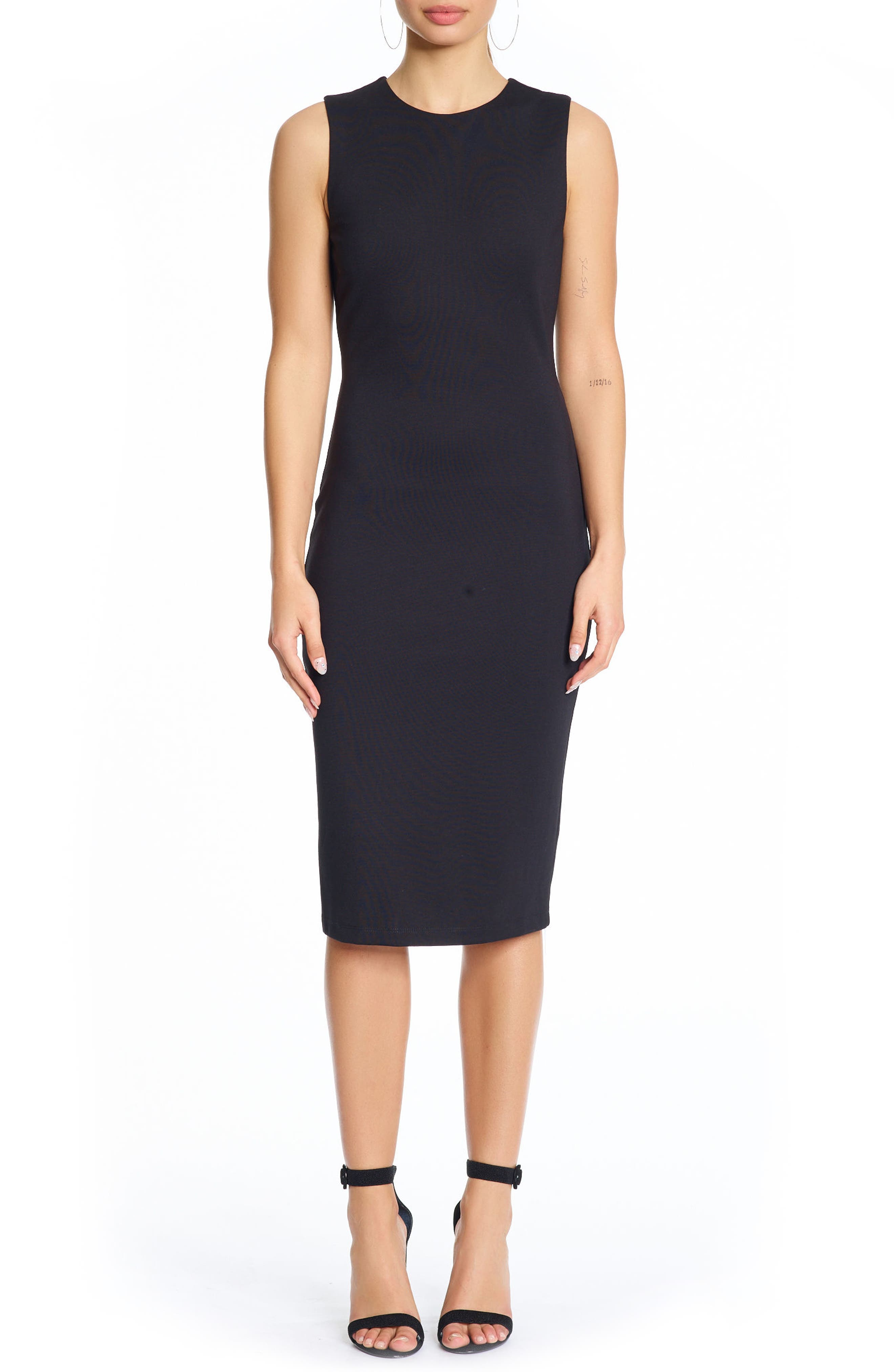 Cutout Body-Con Dress,                         Main,                         color, Black