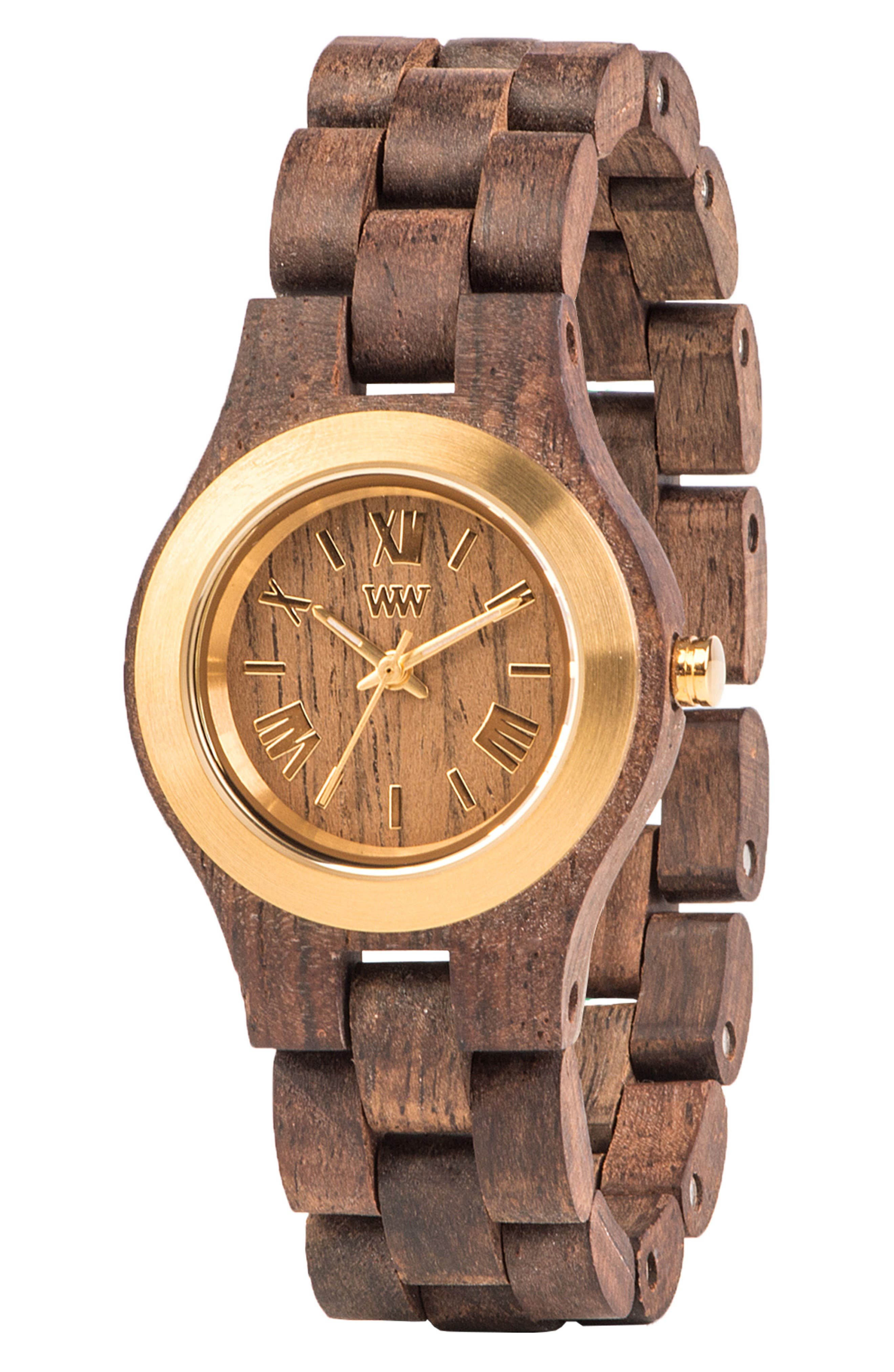 Criss Wood Bracelet Watch, 31mm,                             Alternate thumbnail 3, color,                             Brown/ Gold