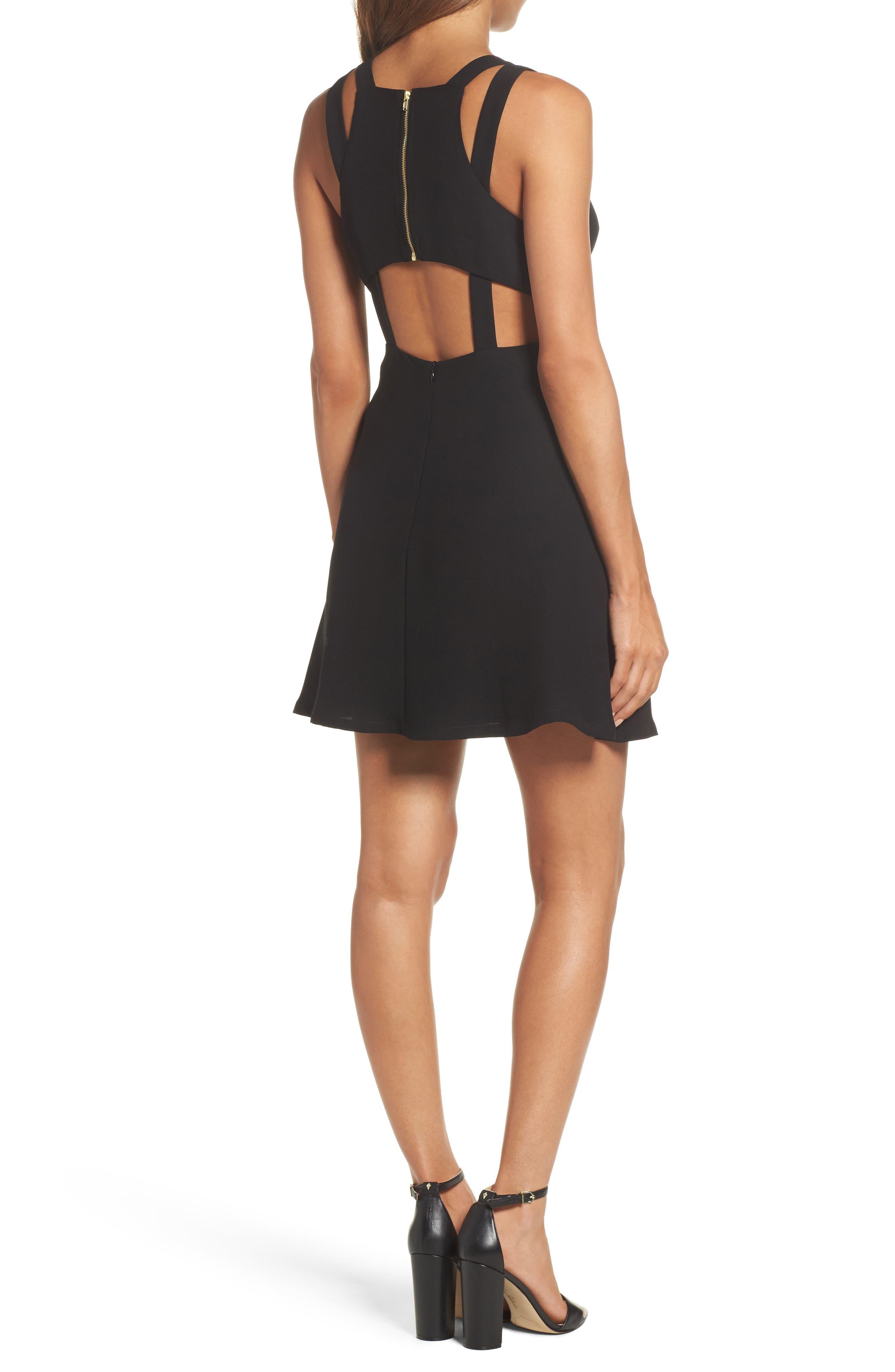 Crepe Fit & Flare Dress,                             Alternate thumbnail 2, color,                             Black