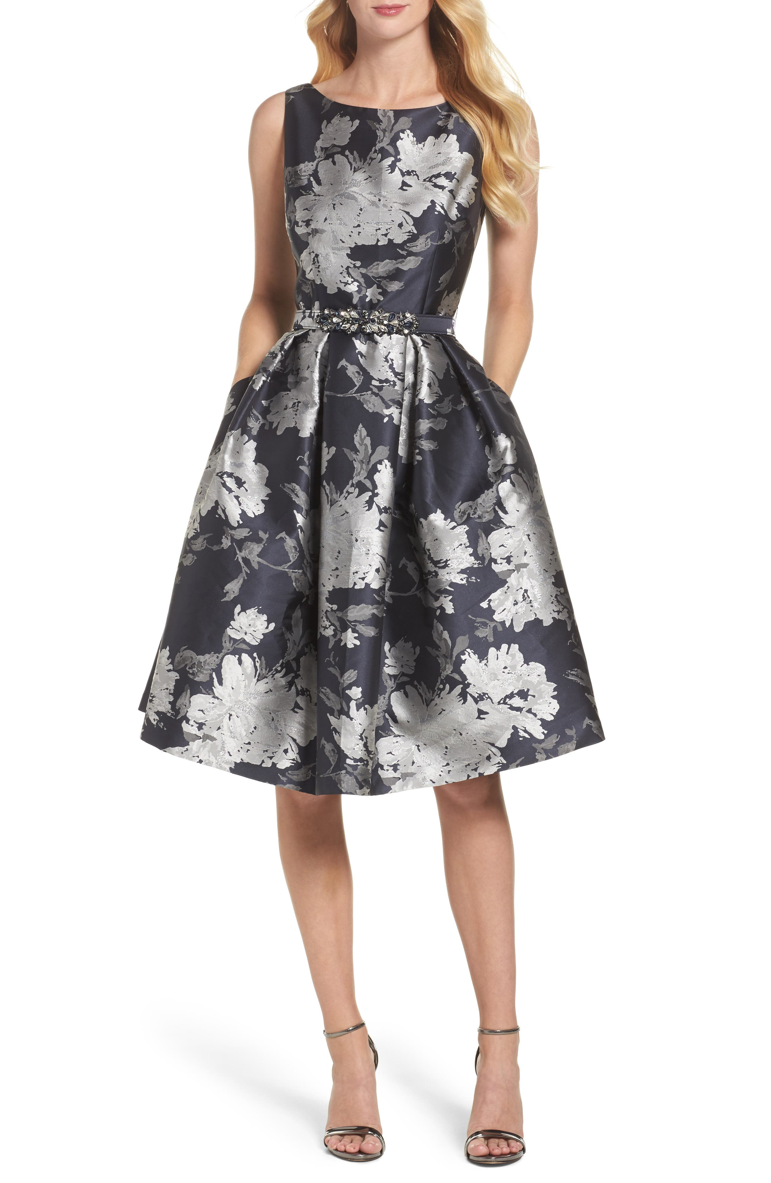 ELIZA J Belted Metallic Jacquard Fit & Flare Dress