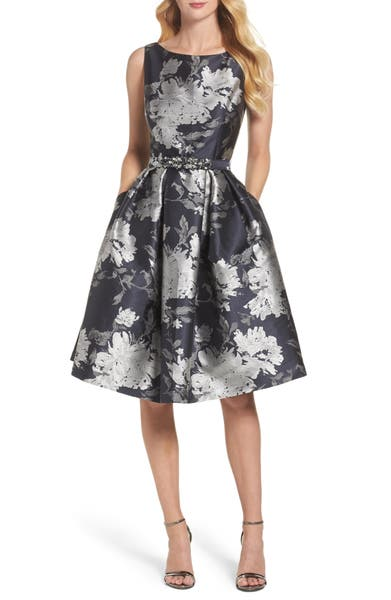Main Image - Eliza J Belted Metallic Jacquard Fit & Flare Dress (Regular & Petite)