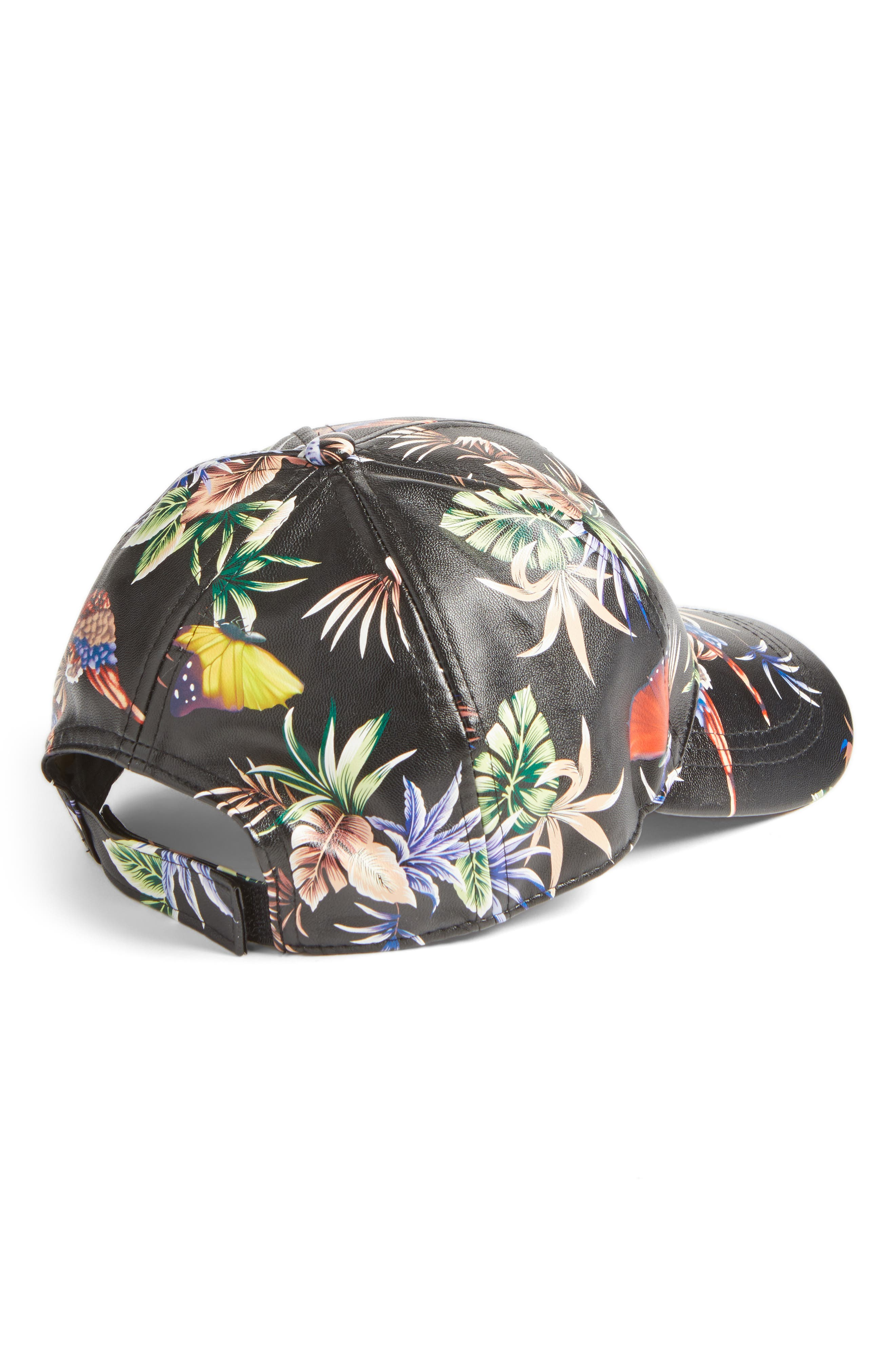 Alternate Image 2  - August Hat Floral Faux Leather Baseball Cap