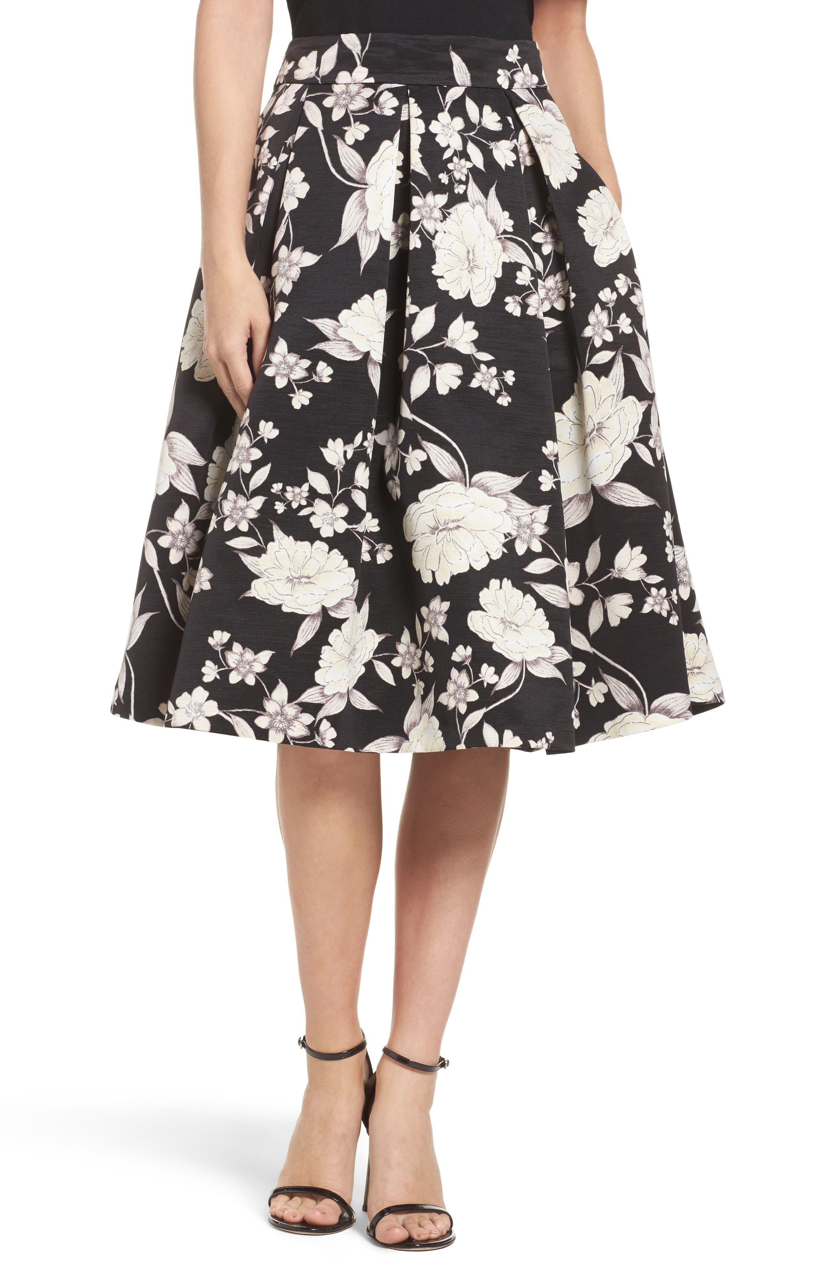 Floral Print Midi Skirt,                         Main,                         color, Black/ Ivory