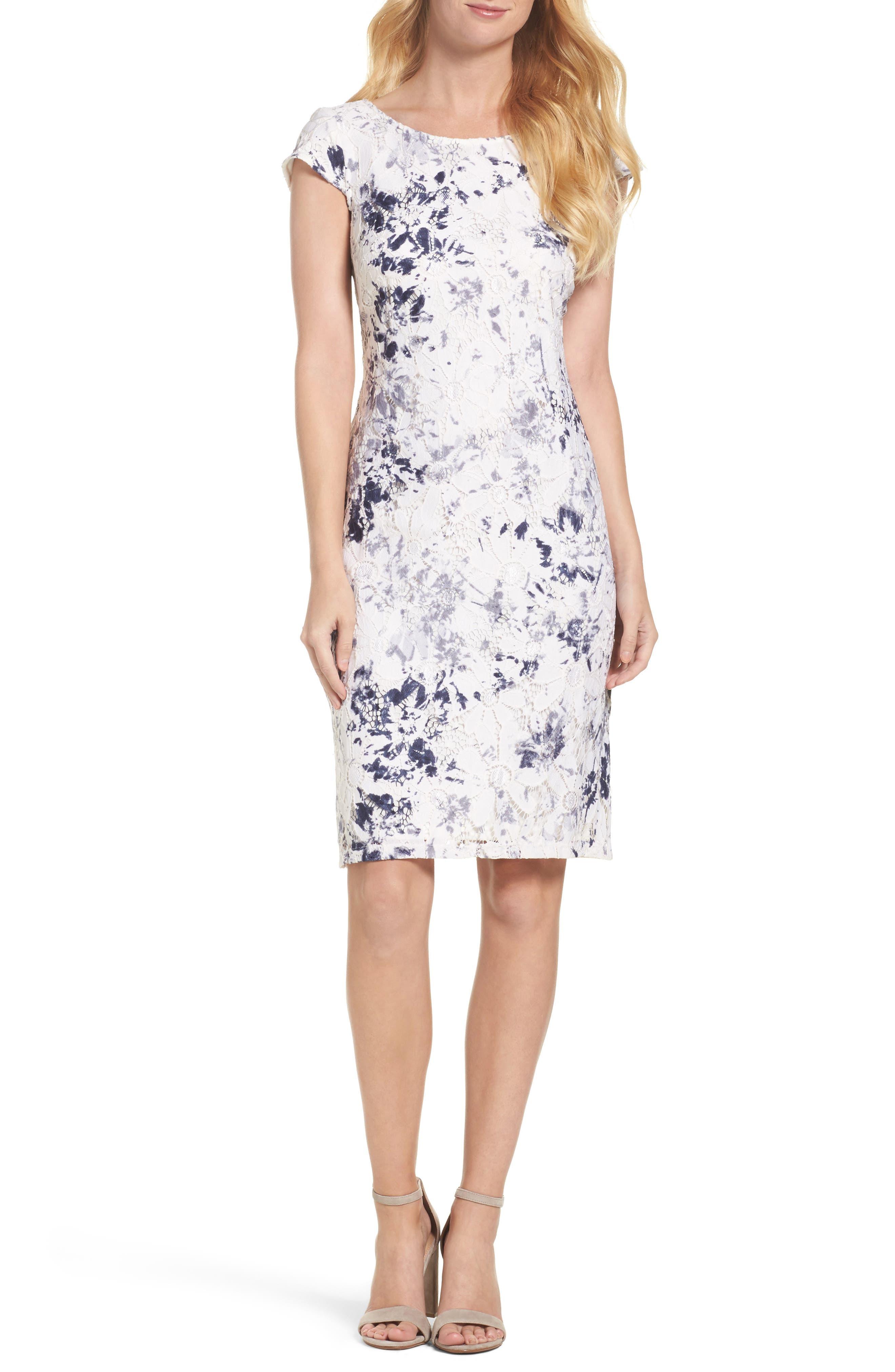 Lace Sheath Dress,                         Main,                         color, Ivory/ Navy