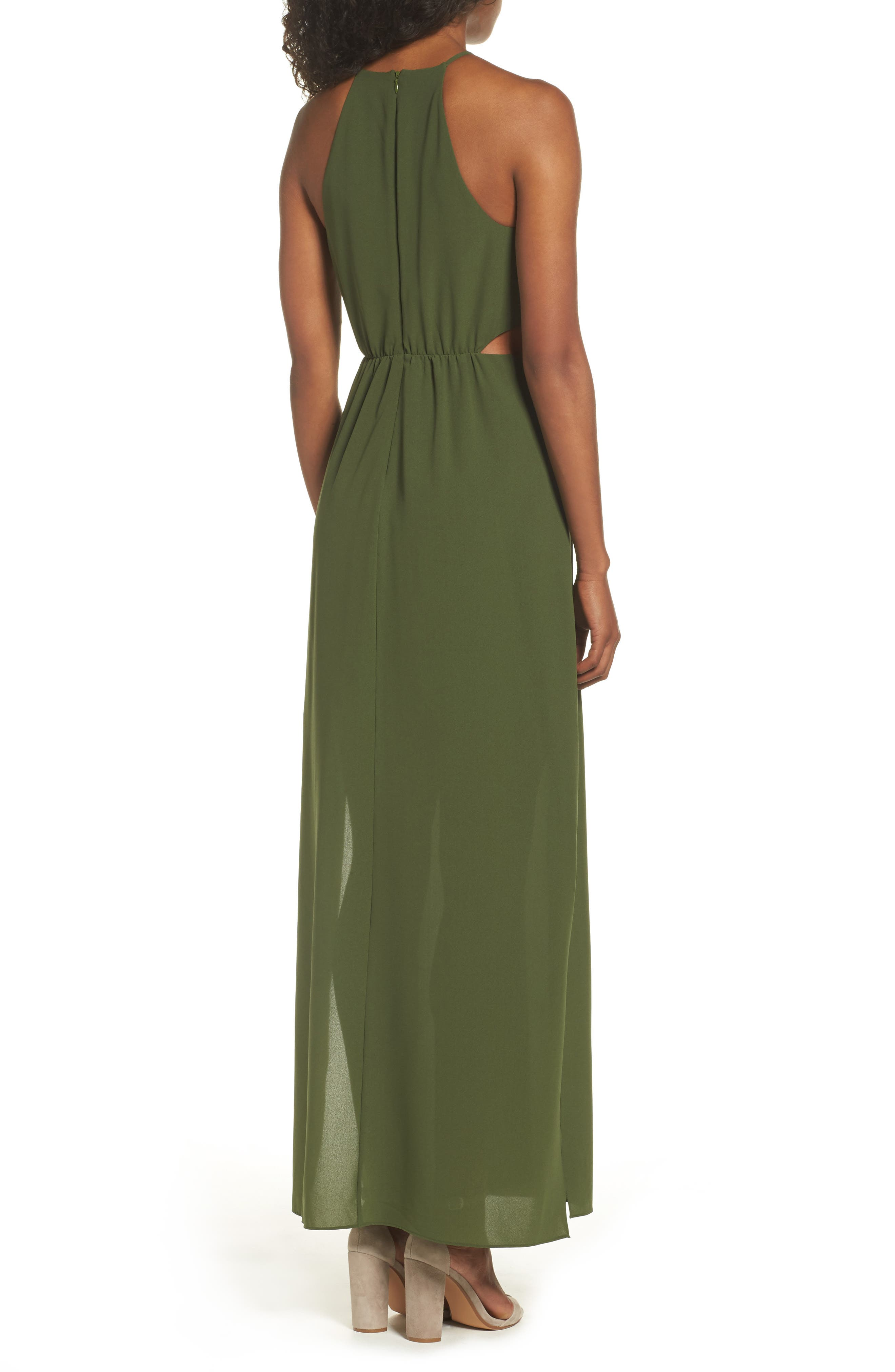 Gazing At The Observatory Maxi Dress,                             Alternate thumbnail 3, color,                             Army