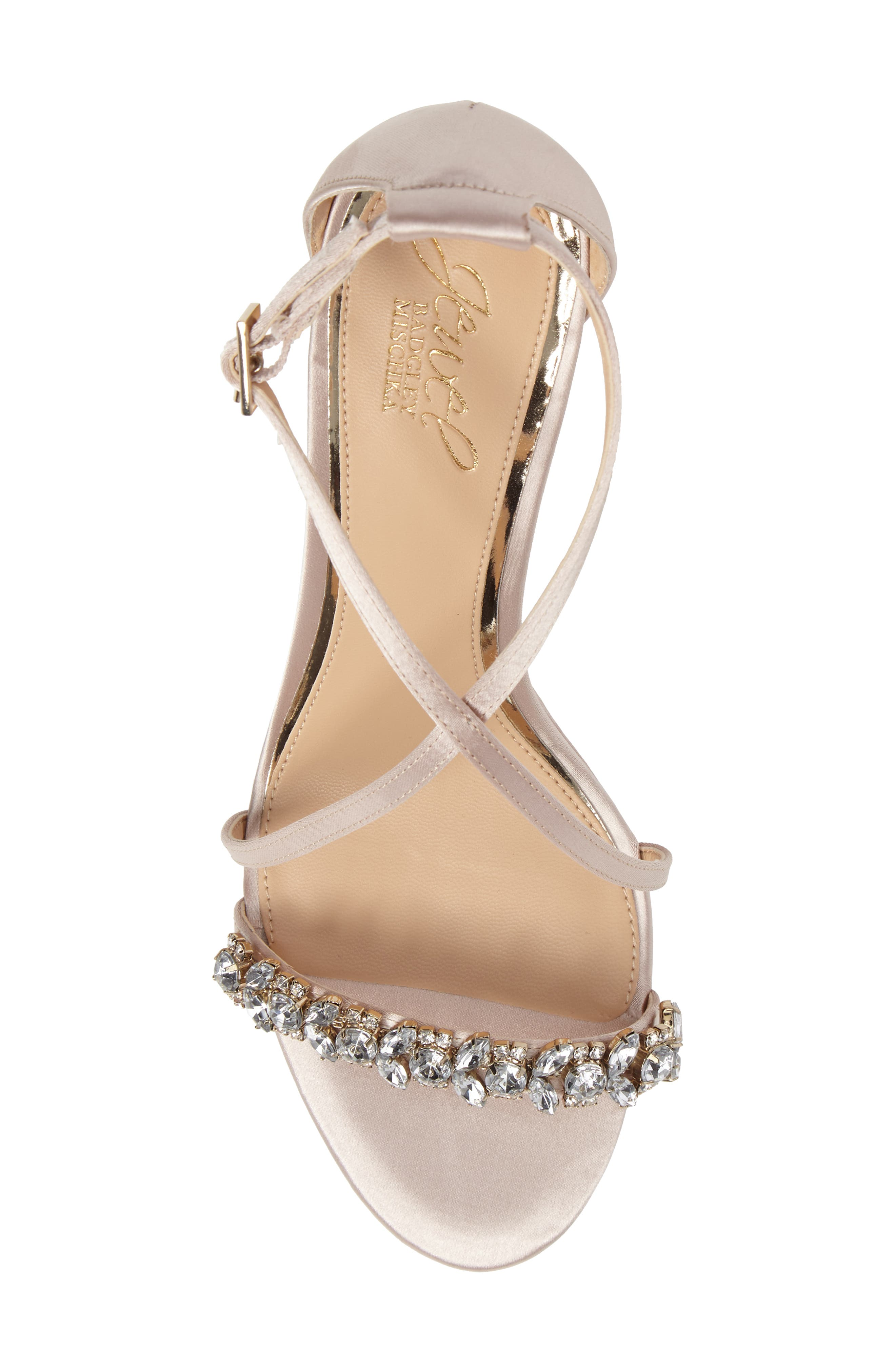 Embellished Strappy Wedge Sandal,                             Alternate thumbnail 5, color,                             Champagne Satin
