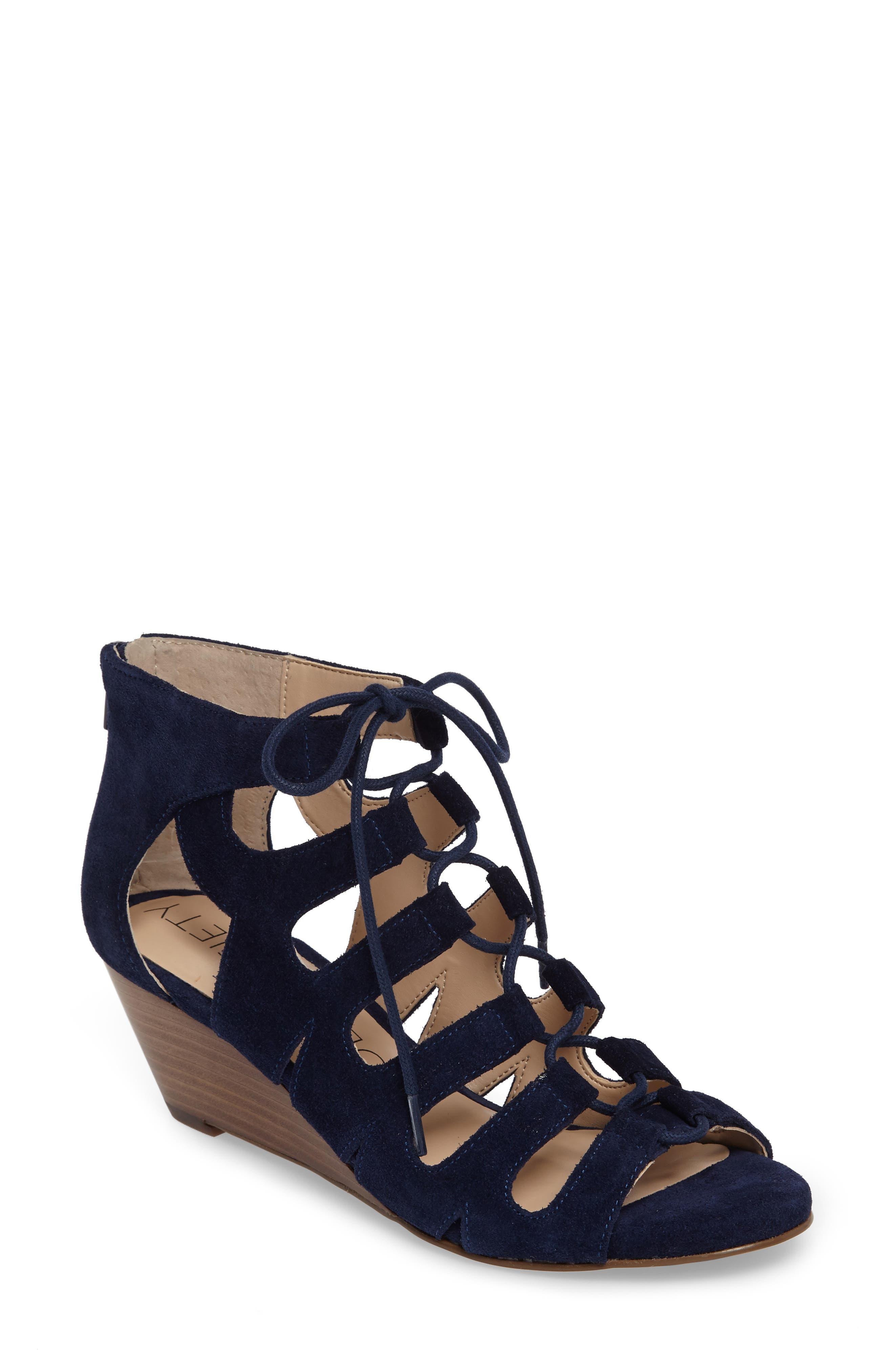'Freyaa' Wedge Sandal,                             Main thumbnail 1, color,                             Navy Suede