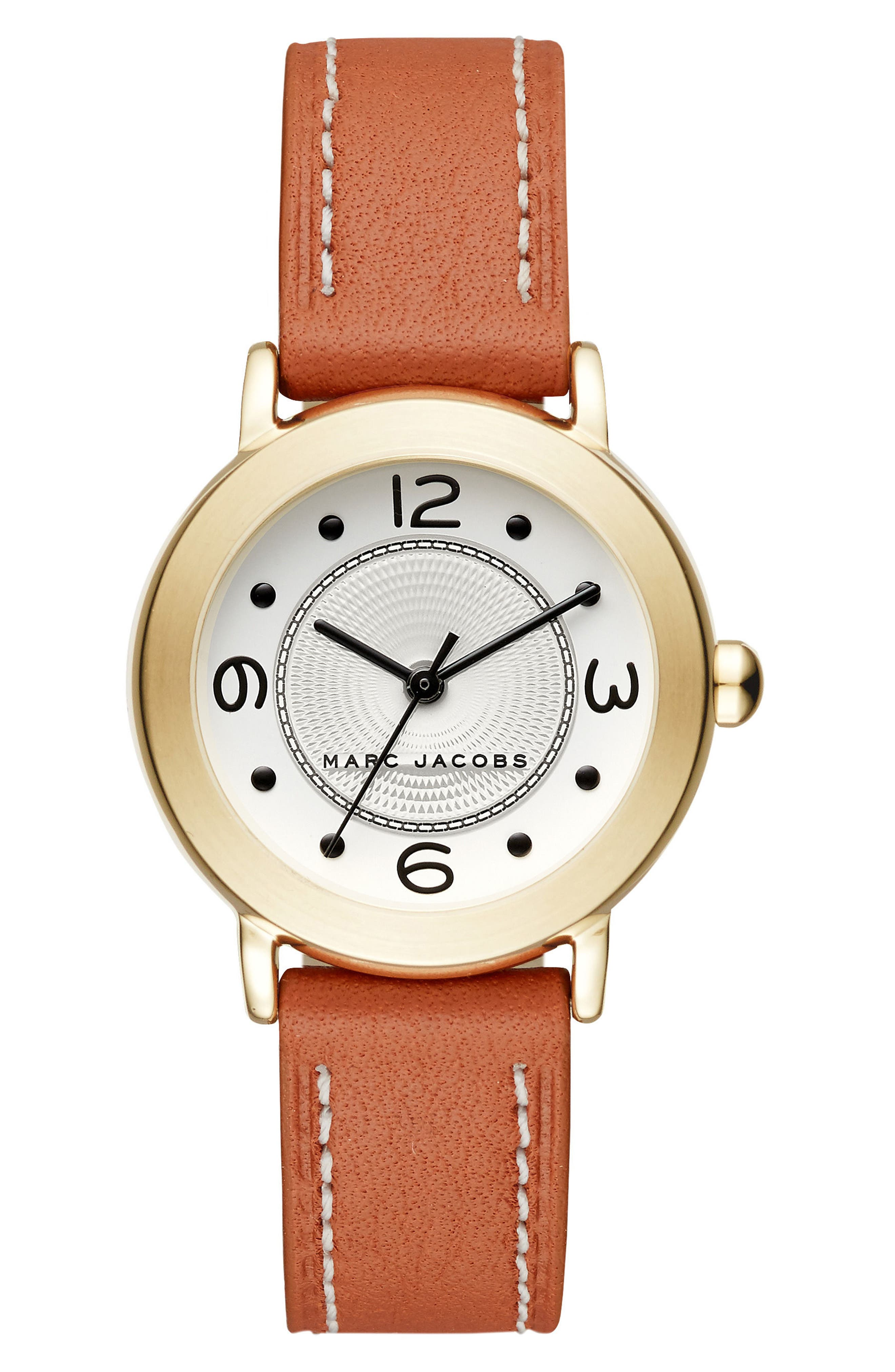 Round Leather Strap Watch, 28mm,                         Main,                         color, Tan/ White/ Gold