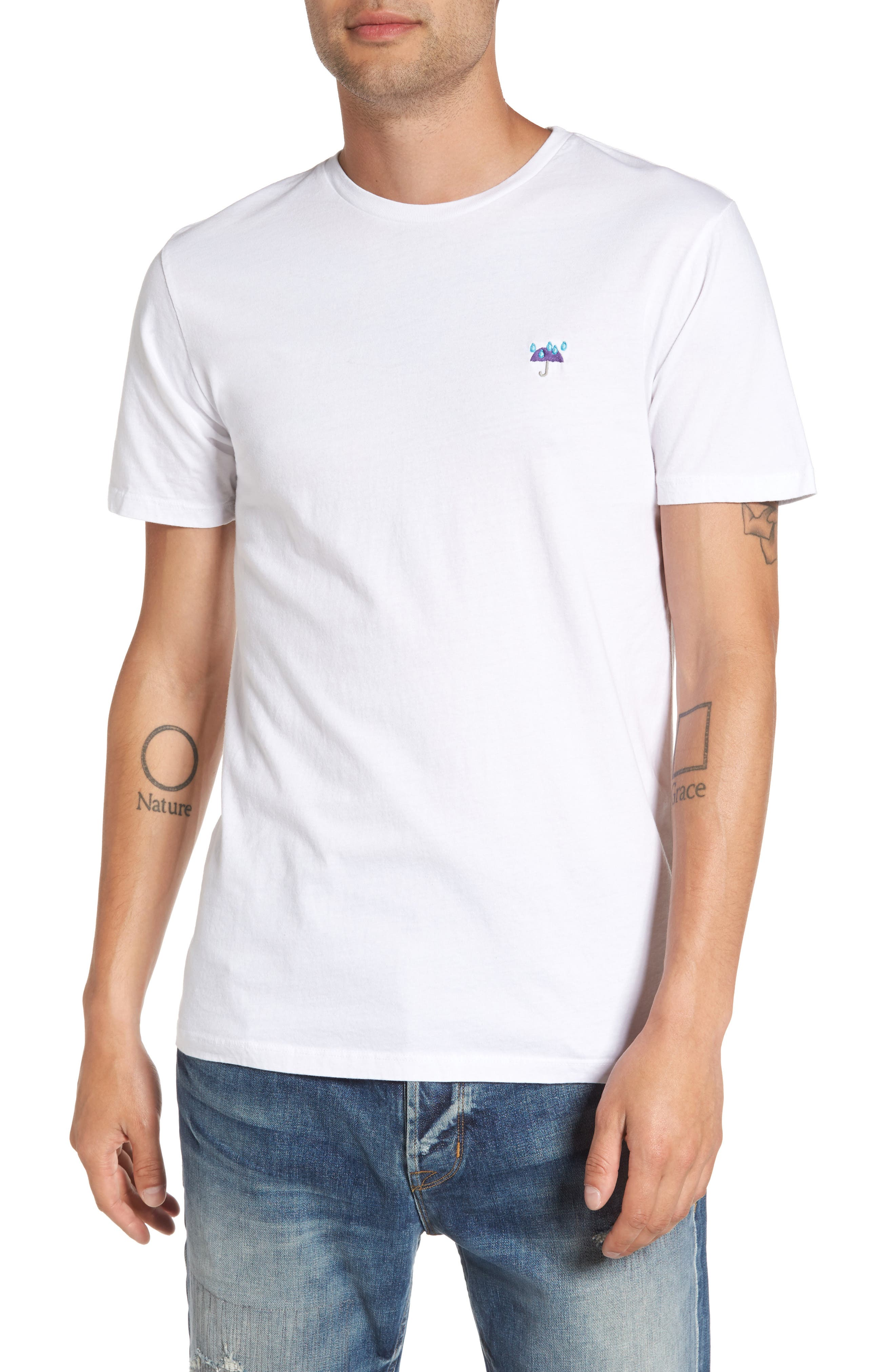 Purple Rain Embroidered T-Shirt,                         Main,                         color, White