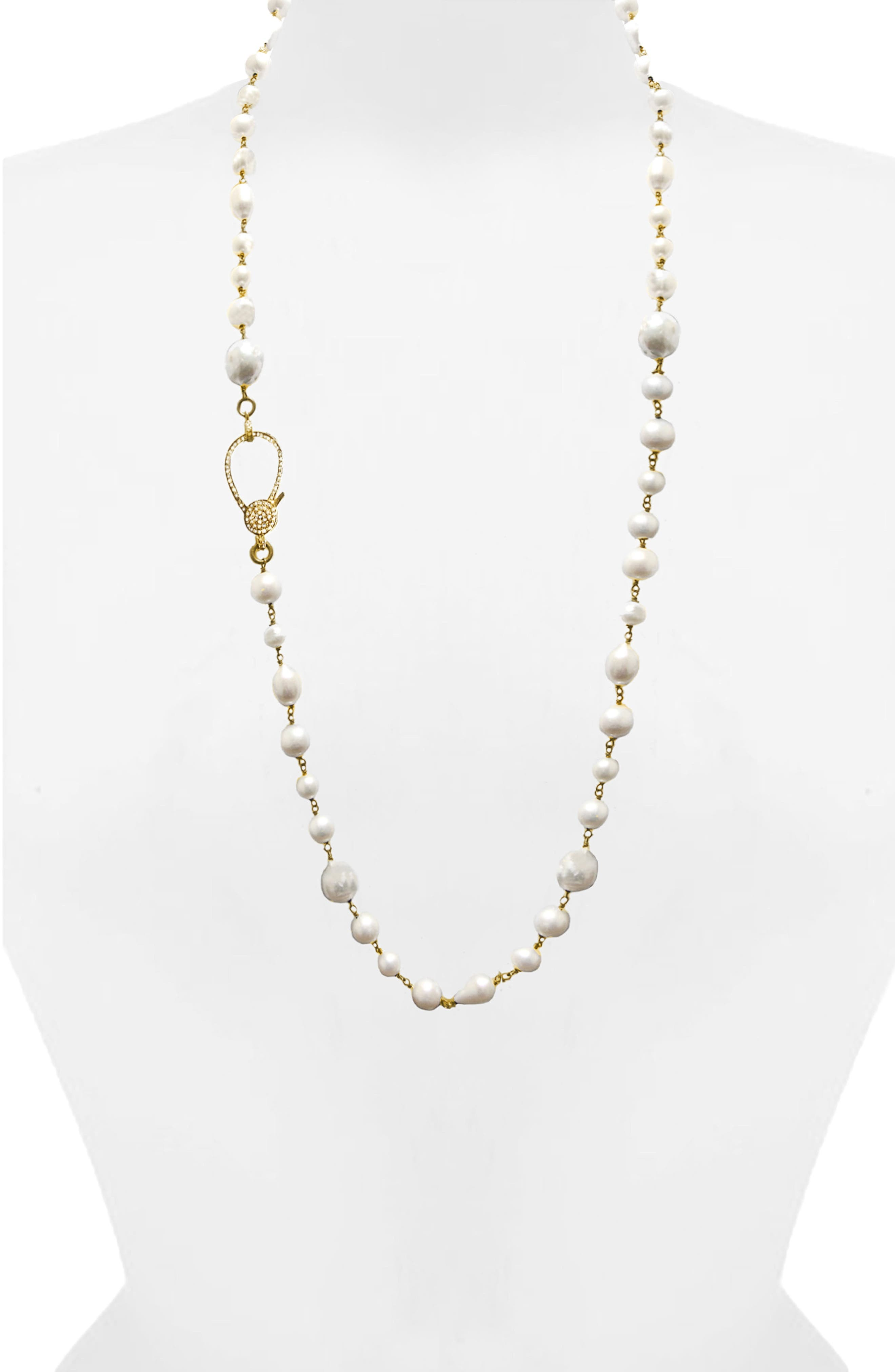 Jane Basch Long Pearl & Diamond Necklace,                             Main thumbnail 1, color,                             Pearl/ Yellow Gold