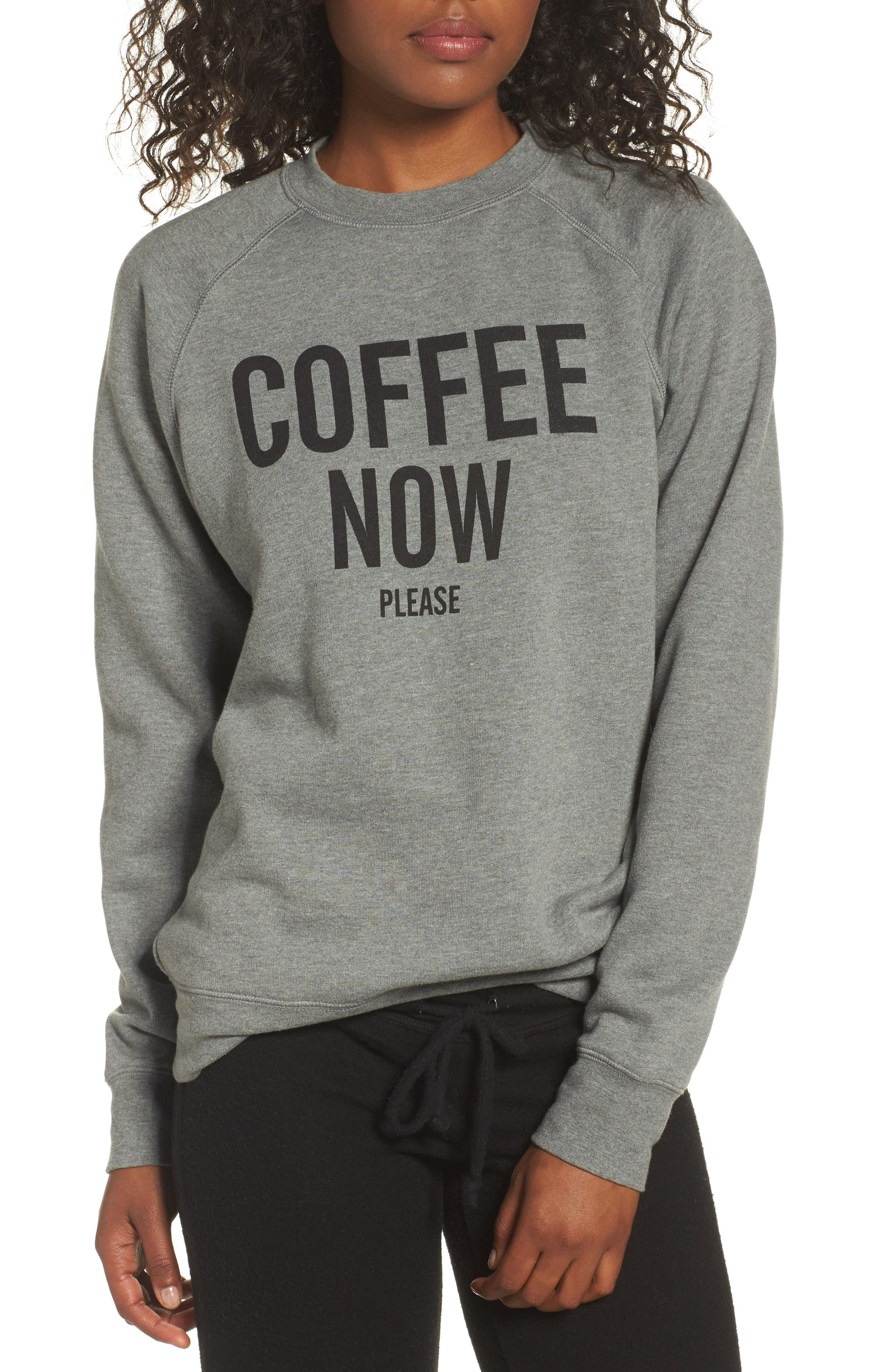 Coffee Now Lounge Sweatshirt,                         Main,                         color, Grey