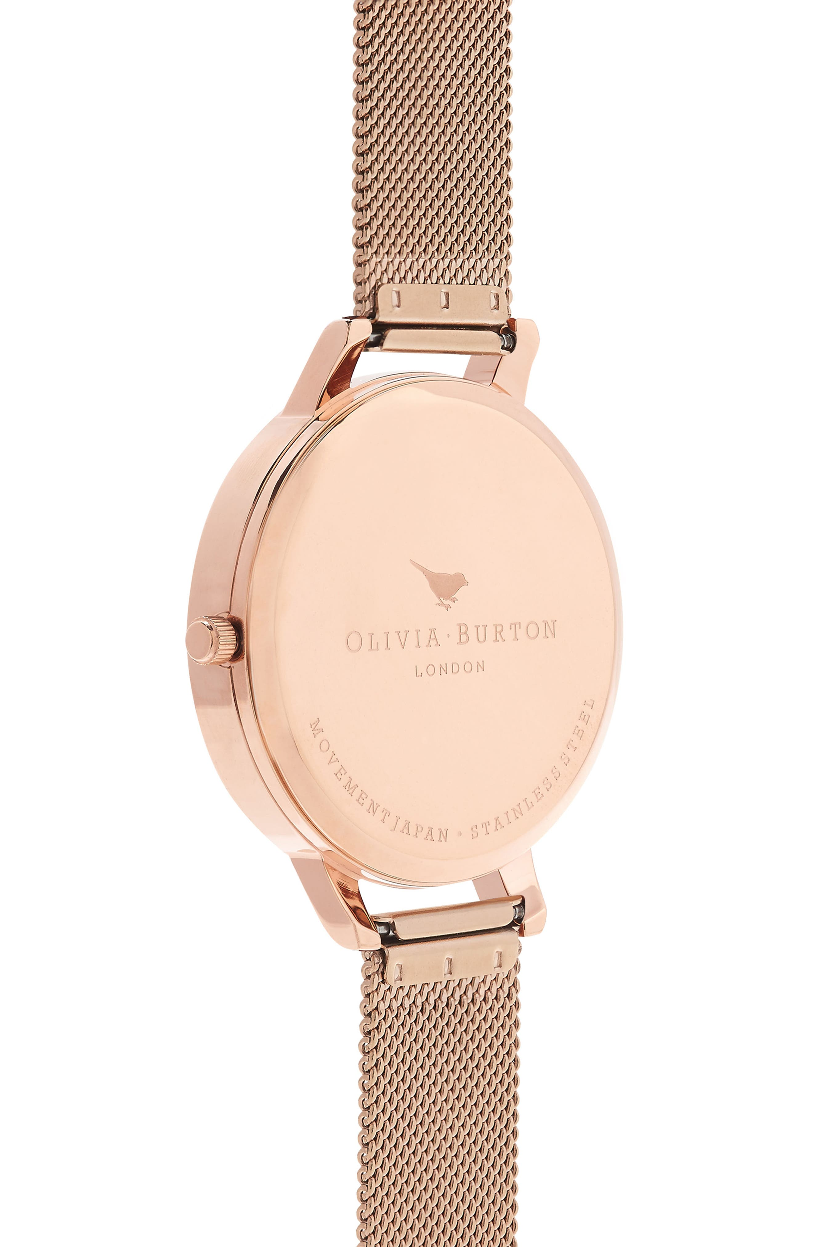 Lace Detail Mesh Strap Watch, 38mm,                             Alternate thumbnail 2, color,                             Rose Gold/ Grey/ Rose Gold