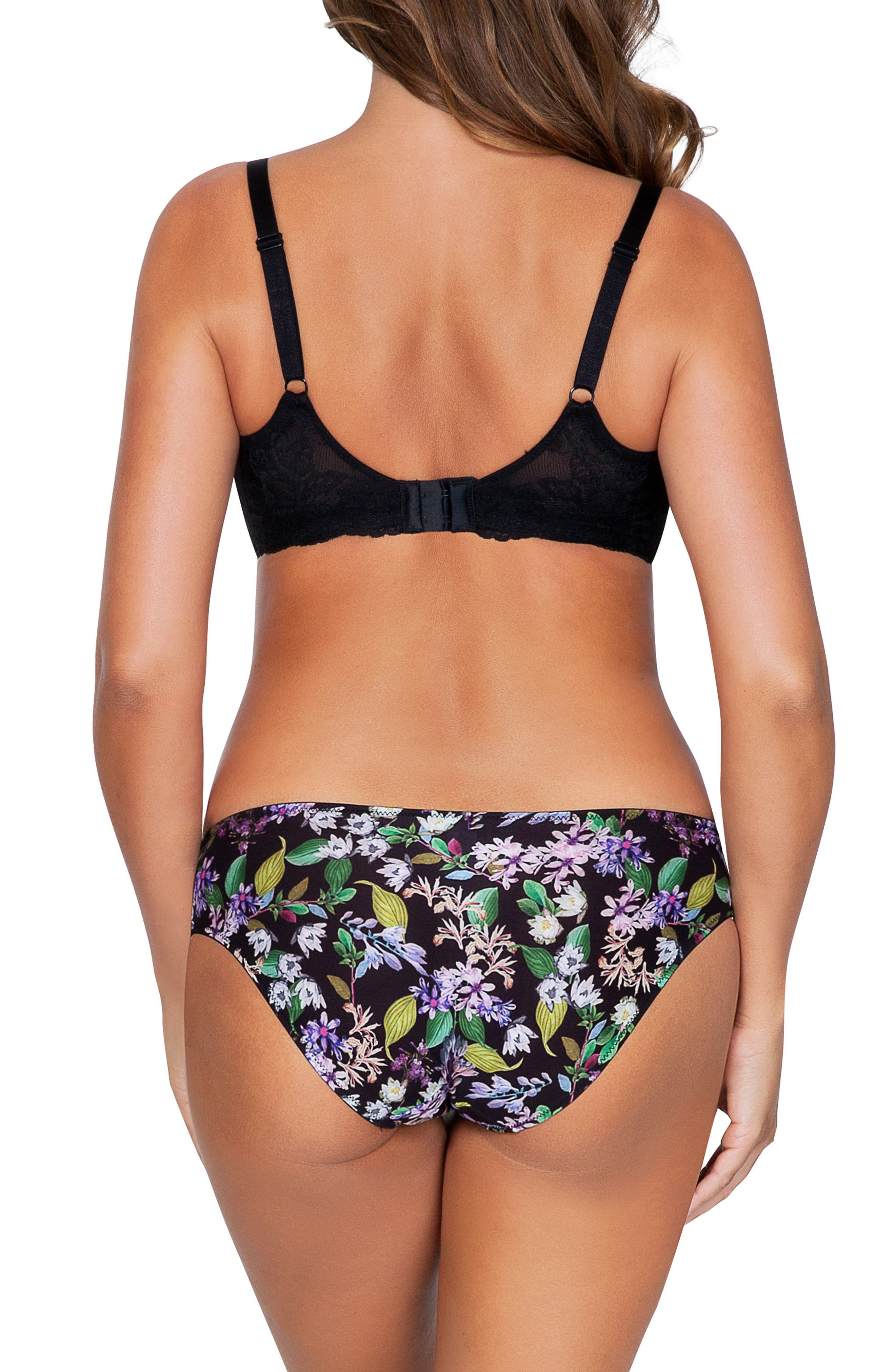 Ava Underwire Bra,                             Alternate thumbnail 4, color,                             Black Floral