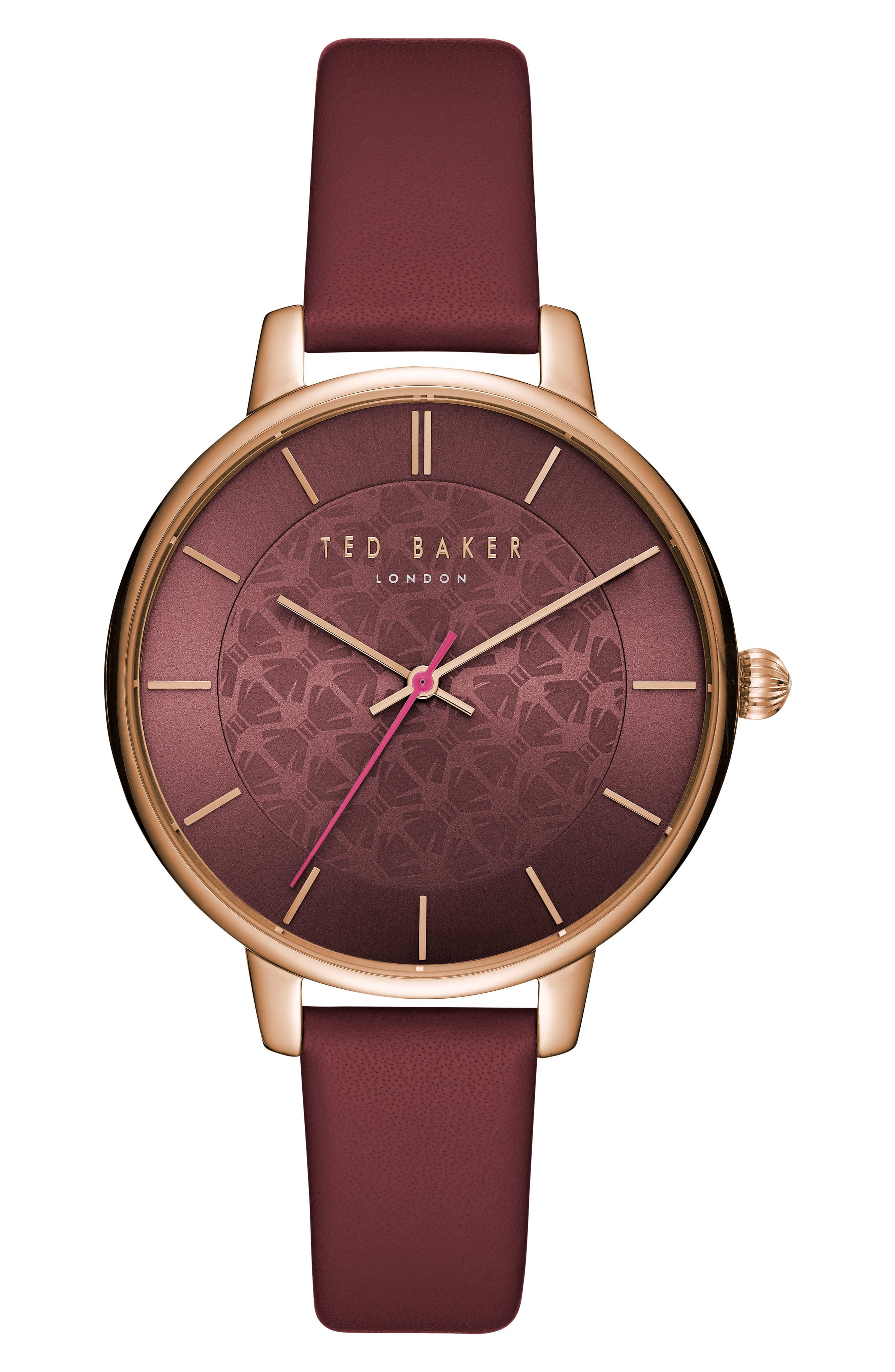 Kate Leather Strap Watch, 38mm,                         Main,                         color, Red/ Gold