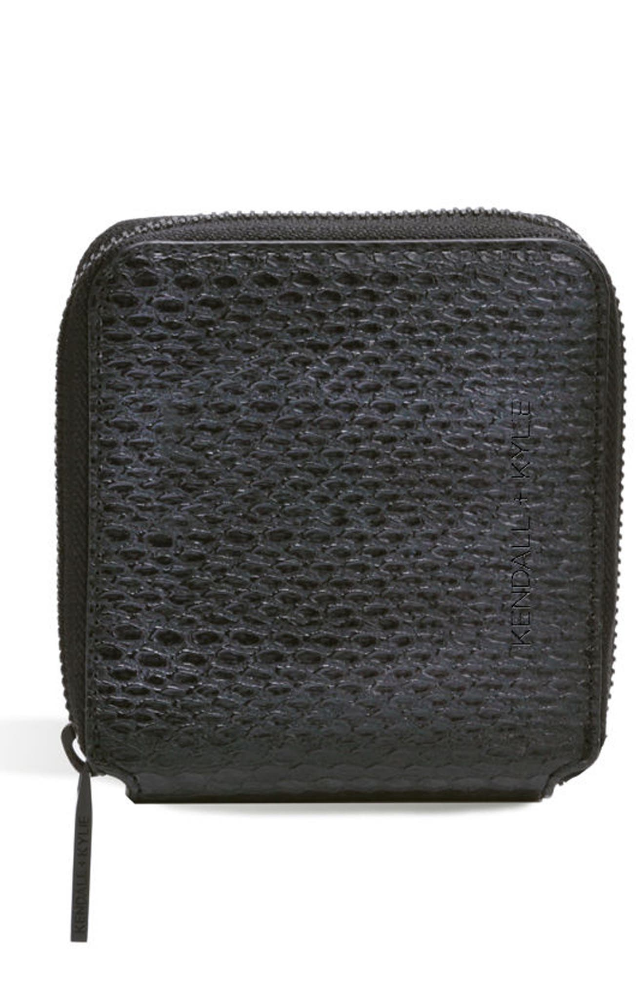 Brodie Faux Leather Wallet,                             Main thumbnail 1, color,                             Black Snake