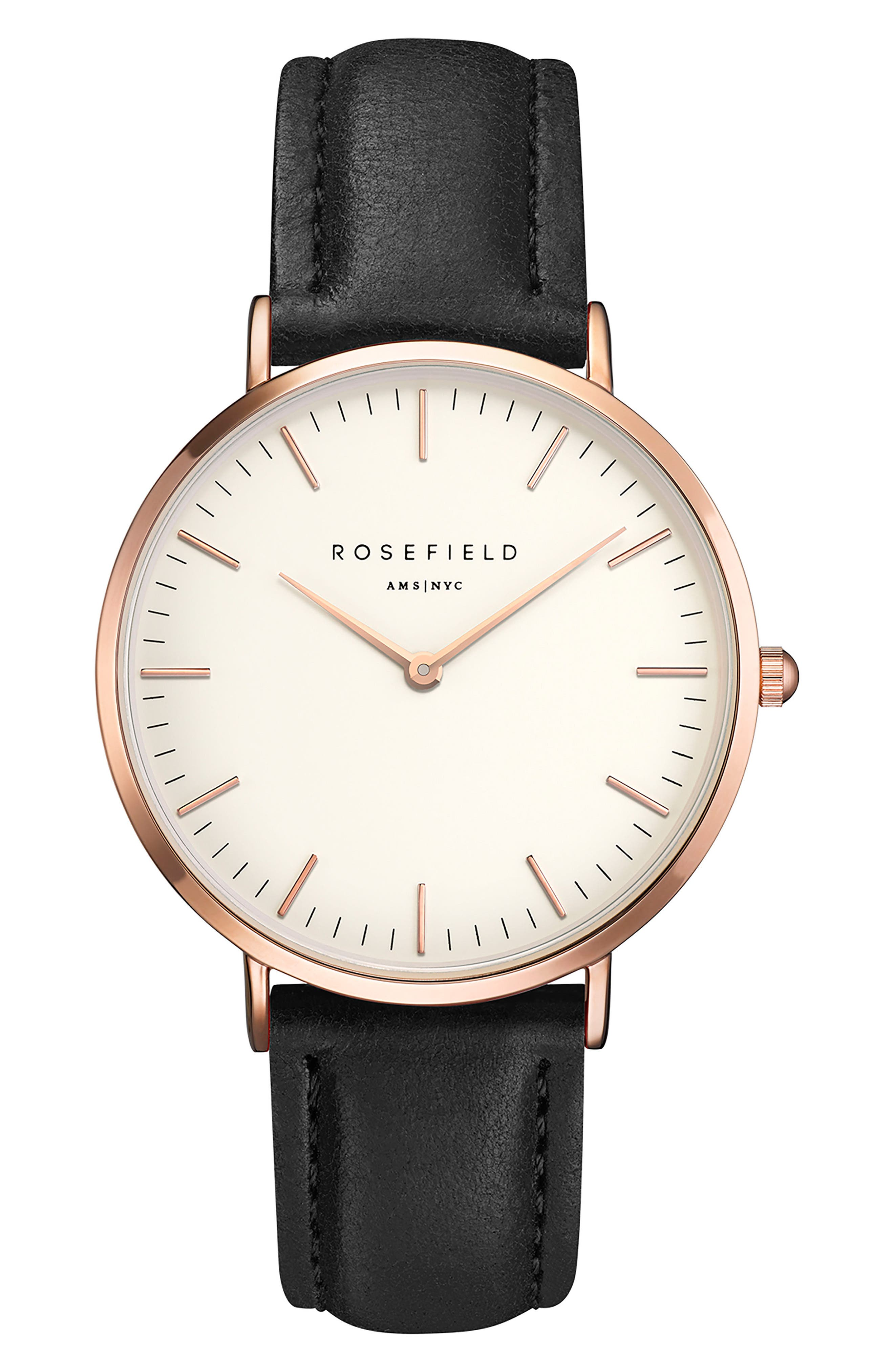 Bowery Leather Strap Watch, 38mm,                         Main,                         color, Black/ White/ Rose Gold