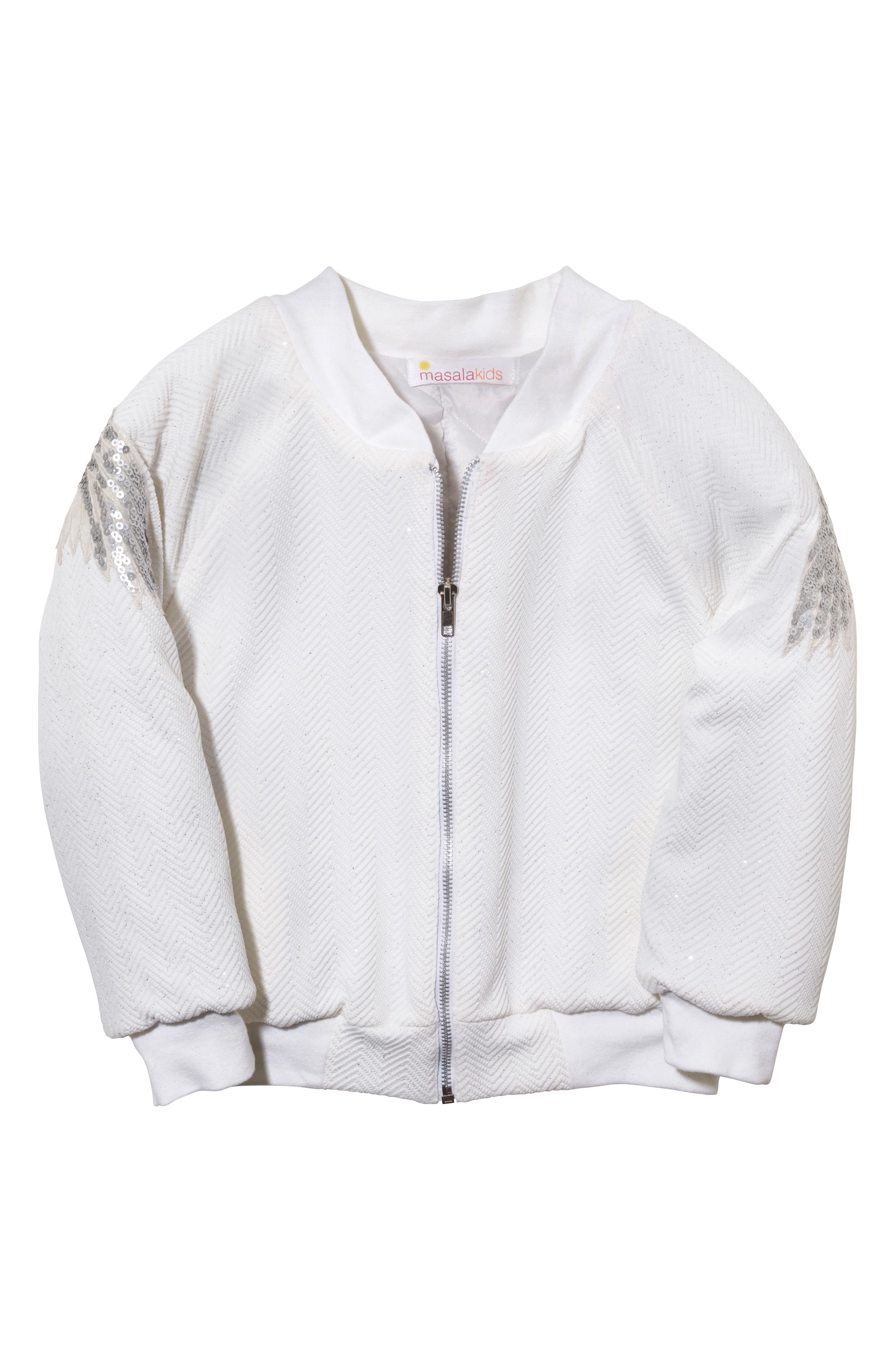 Wings Sequin Bomber Jacket,                         Main,                         color, Ivory