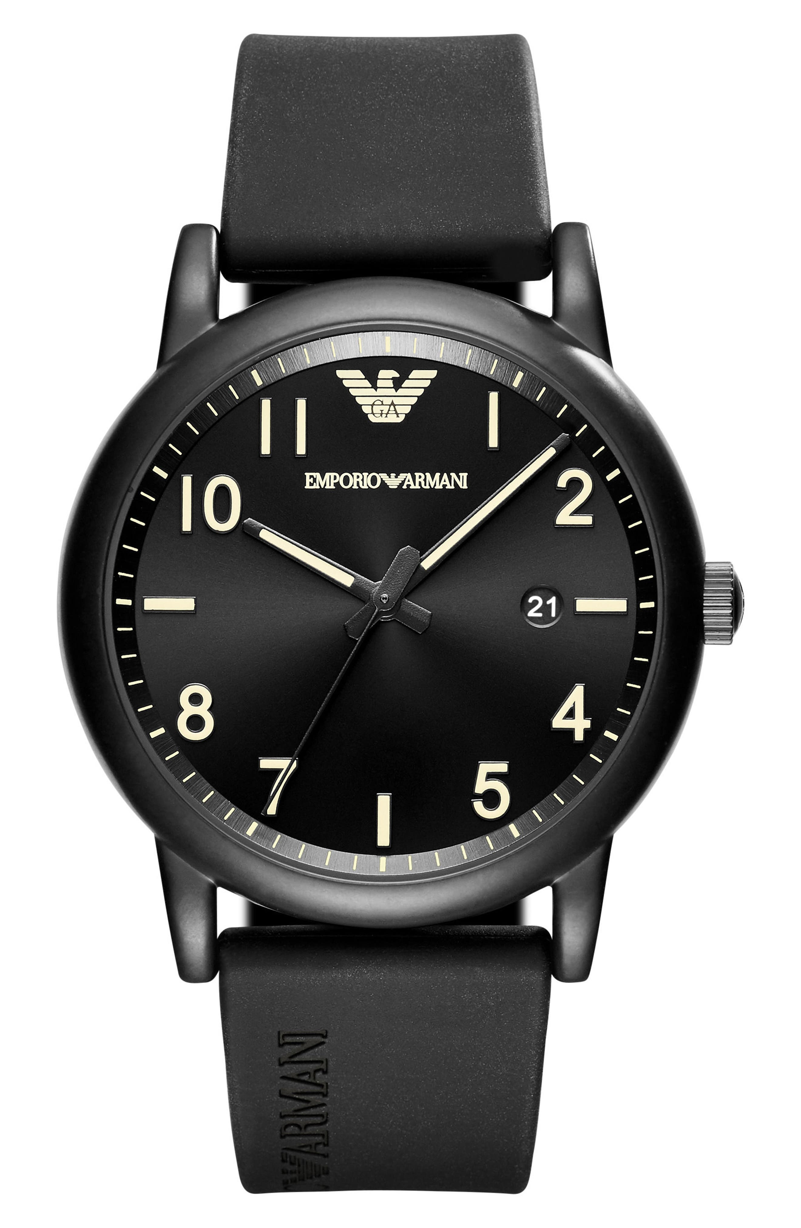 Emporio Armani Rubber Strap Watch, 43mm