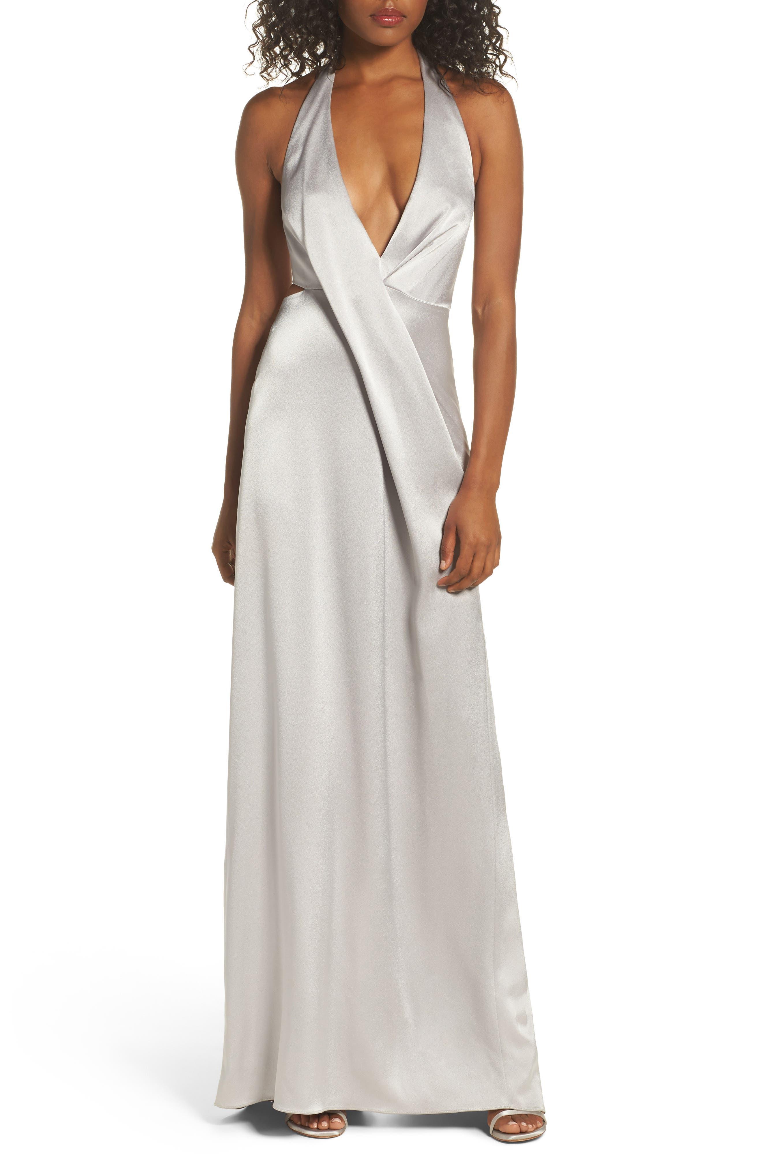 HALSTON HERITAGE V-Neck Draped Satin Gown
