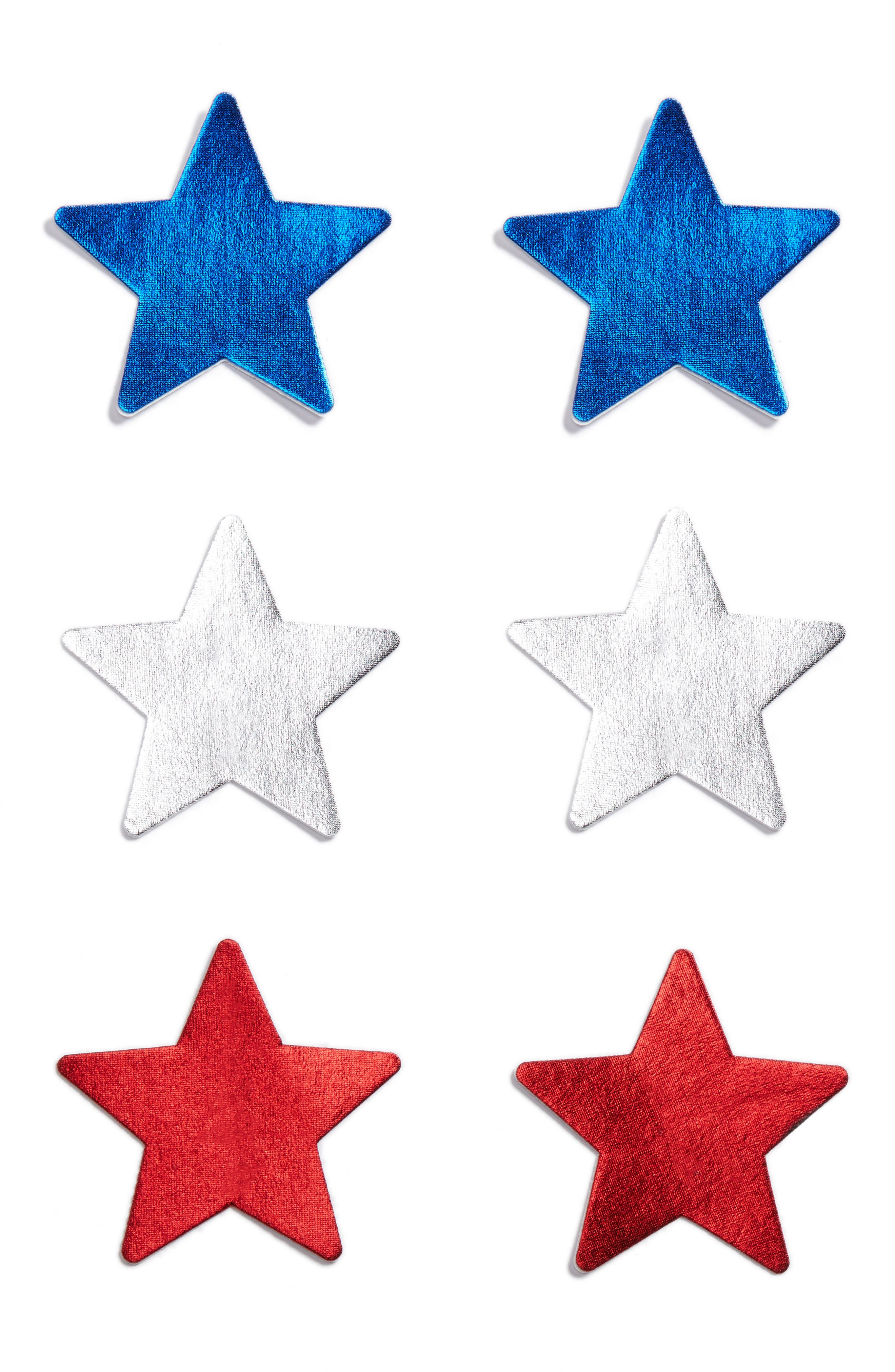 3-Pack Star Nipple Covers,                             Main thumbnail 1, color,                             Blue/ Silver/ Red