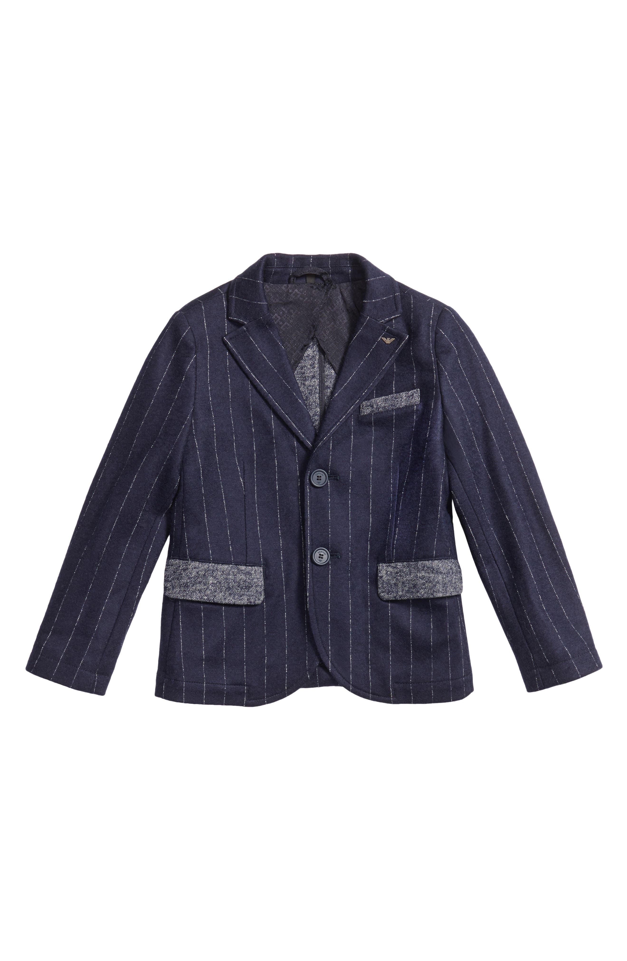 Pinstripe Blazer,                         Main,                         color, Blue
