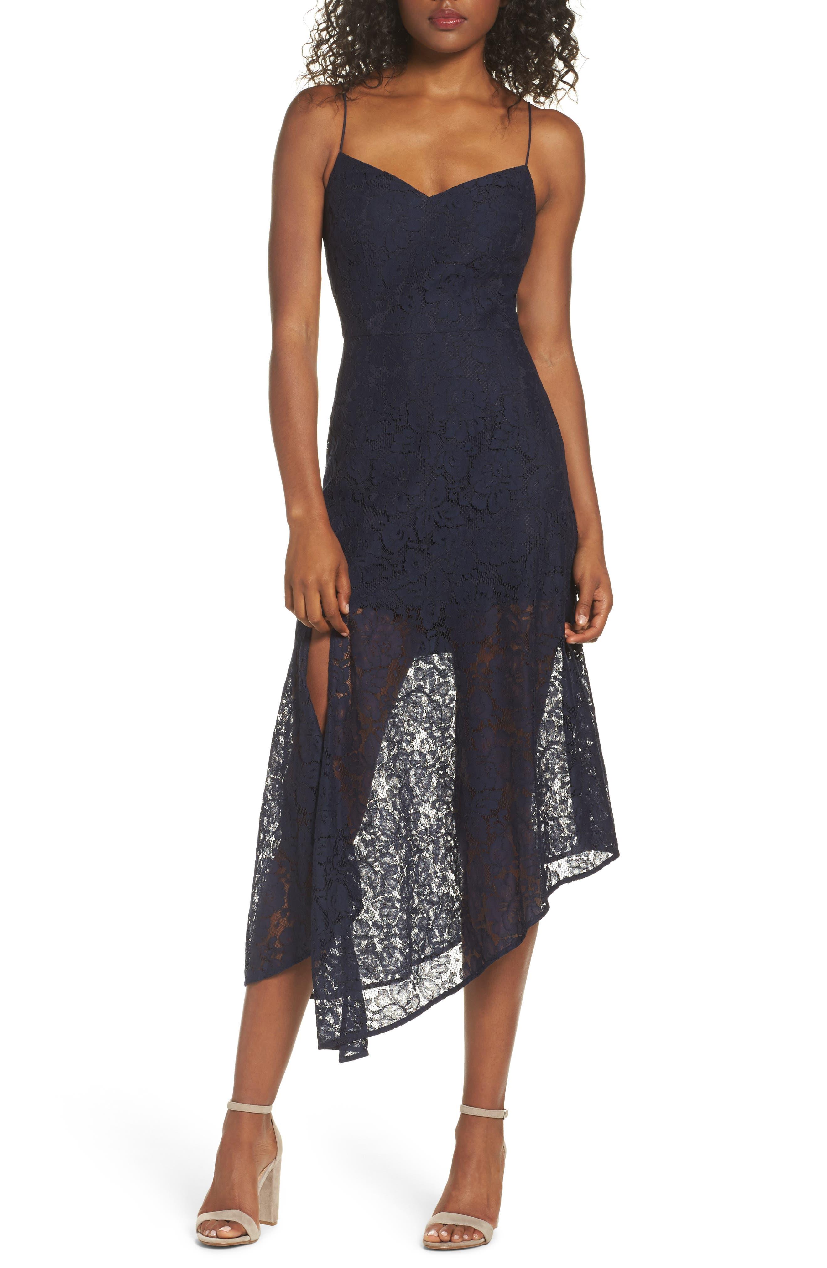 Soho Lace Midi Dress,                         Main,                         color, Navy