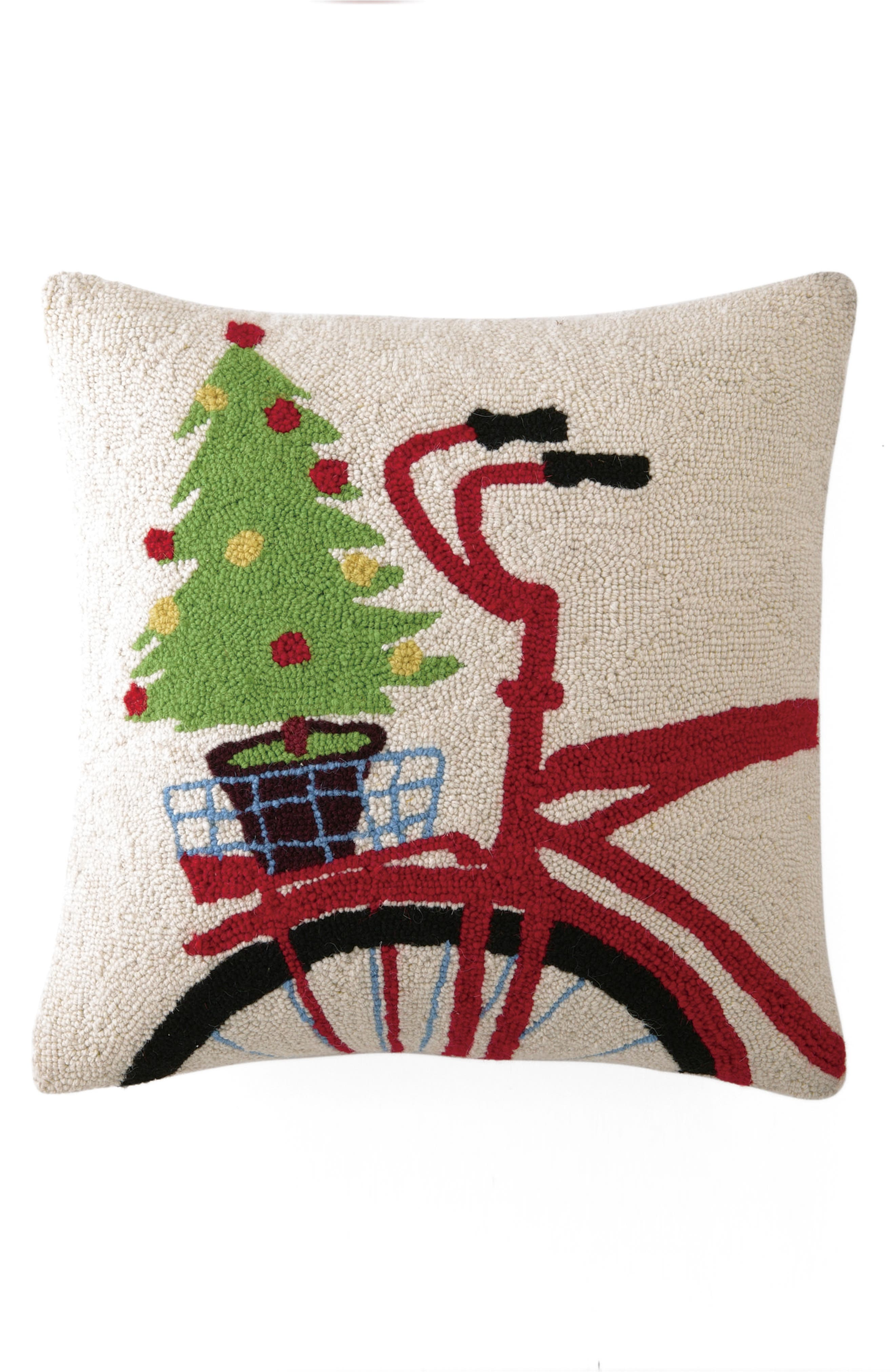Tree on Bike Hooked Accent Pillow,                             Main thumbnail 1, color,                             Ivory