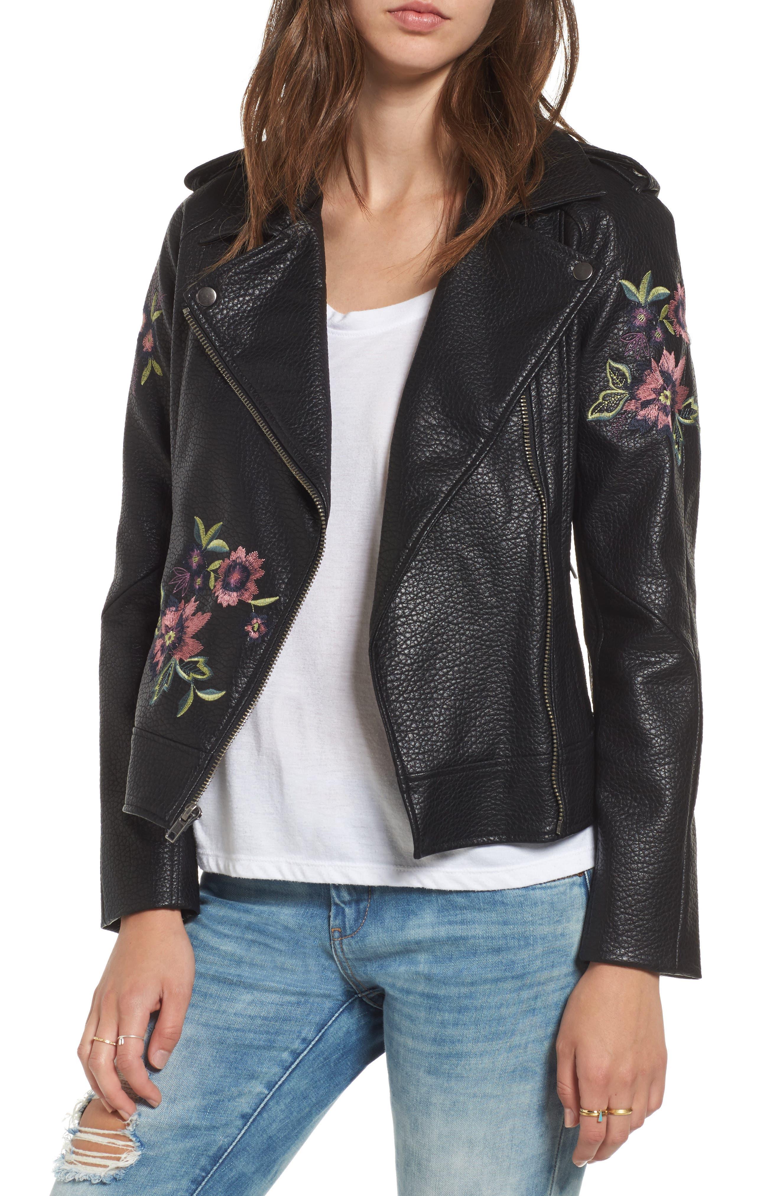 Main Image - BB Dakota Baxley Embroidered Faux Leather Moto Jacket