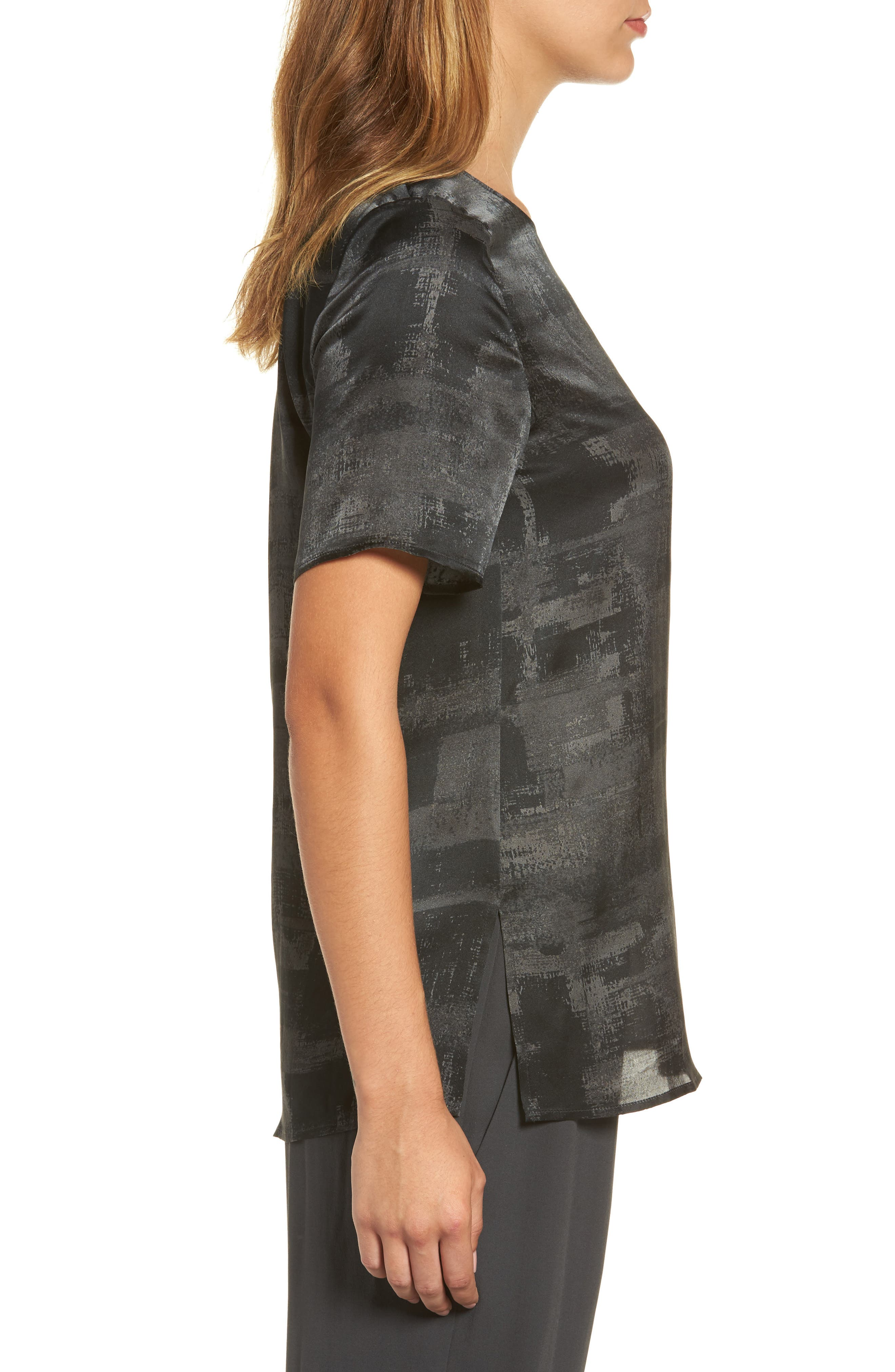 Alternate Image 3  - Eileen Fisher Print Silk Top