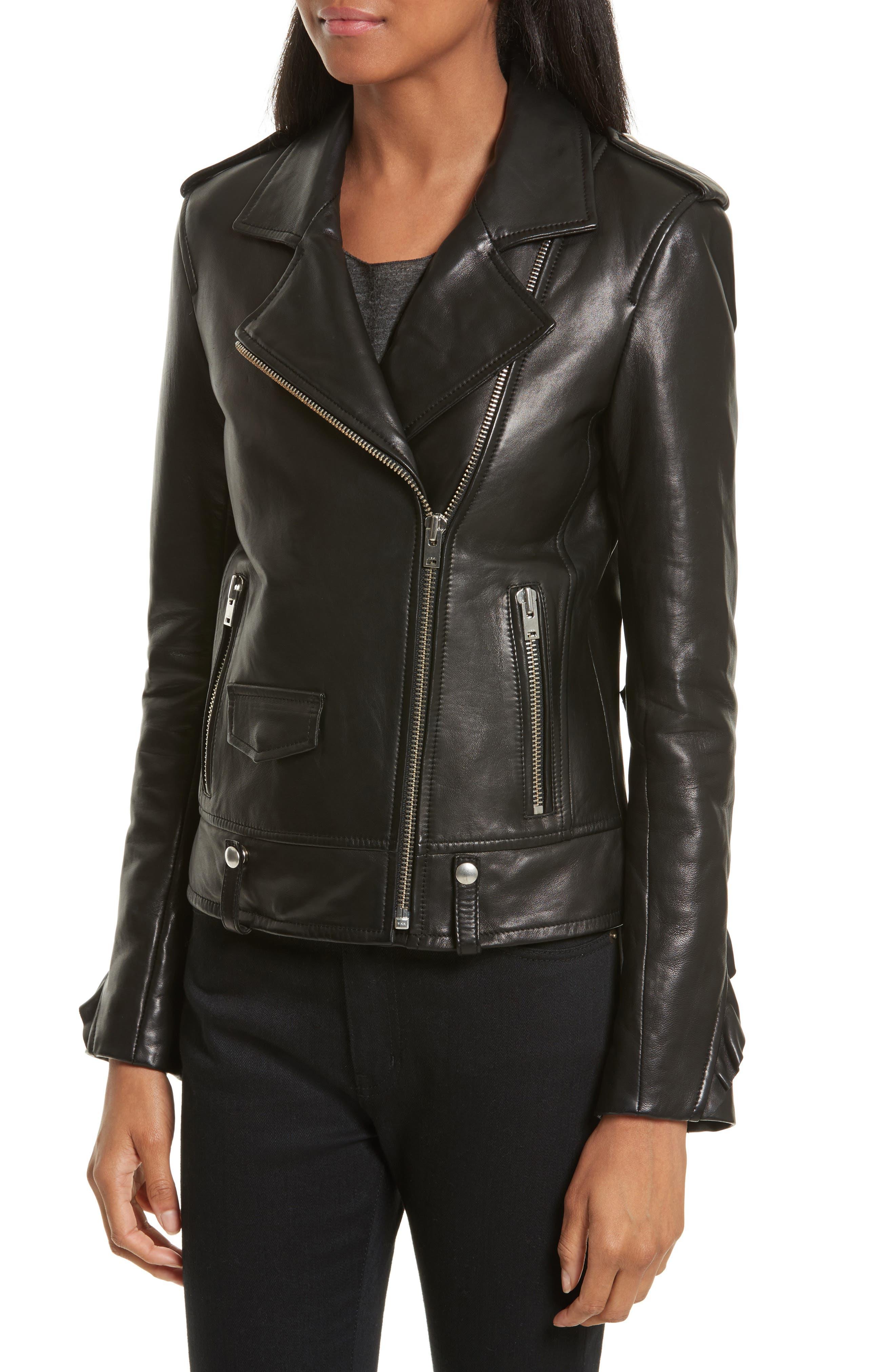 Dumont Leather Jacket,                             Alternate thumbnail 4, color,                             Black