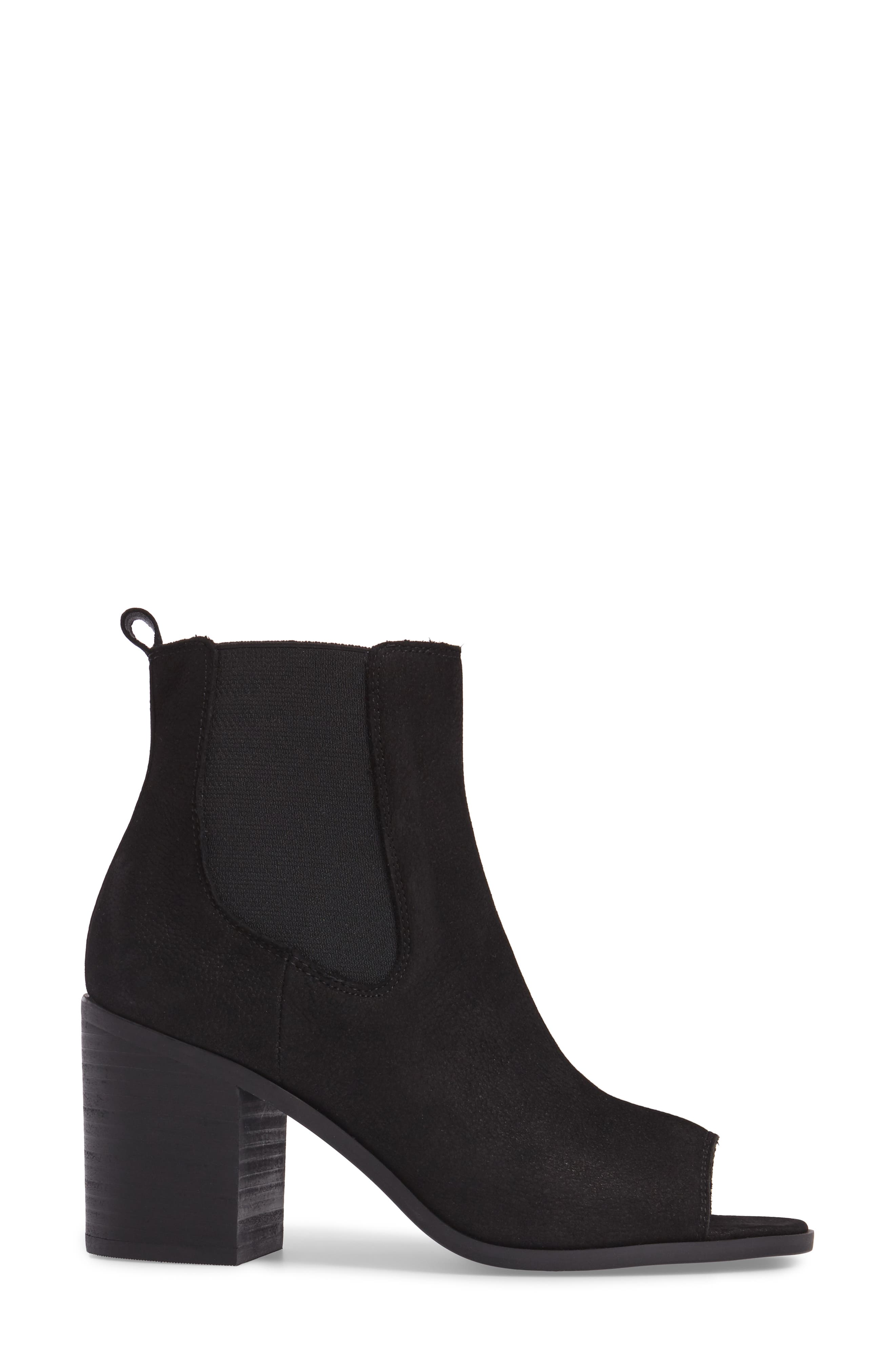 Kassidy Open Toe Chelsea Bootie,                             Alternate thumbnail 3, color,                             Black Leather