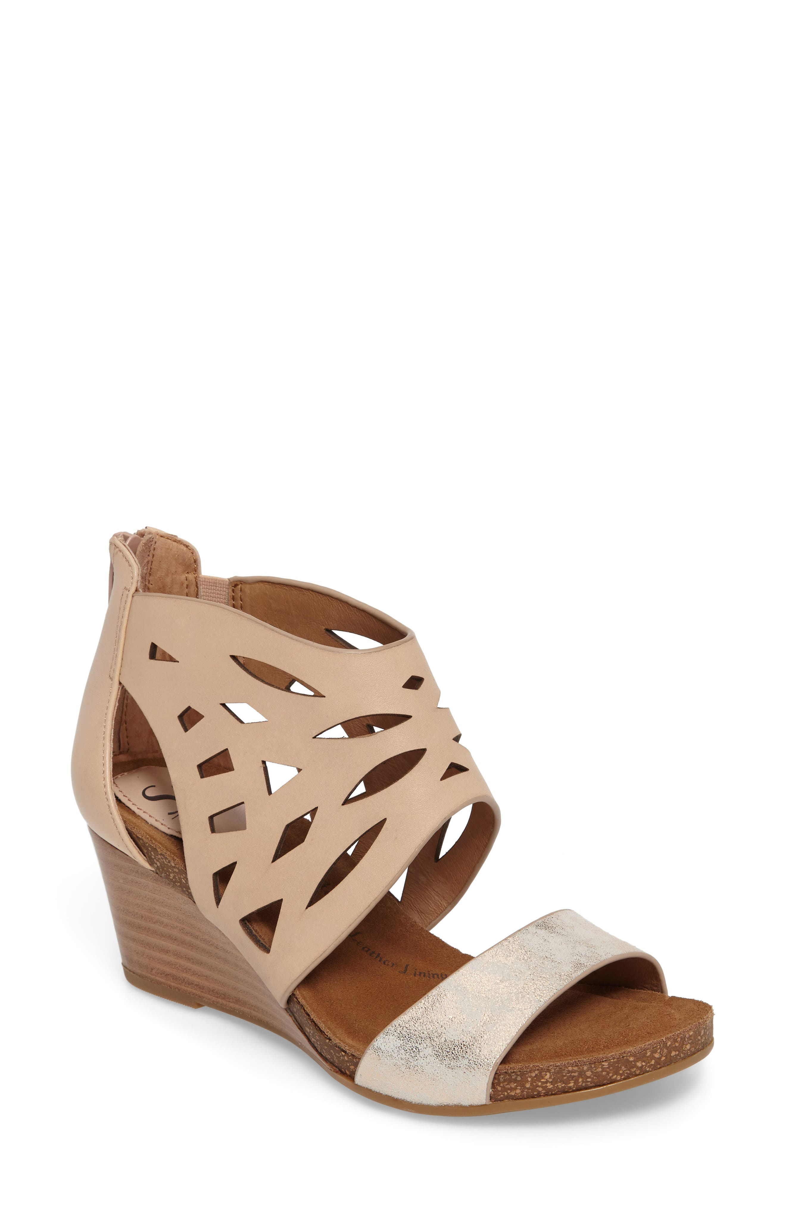 Mystic Perforated Wedge Sandal,                             Main thumbnail 1, color,                             Blush/ Ivory Leather