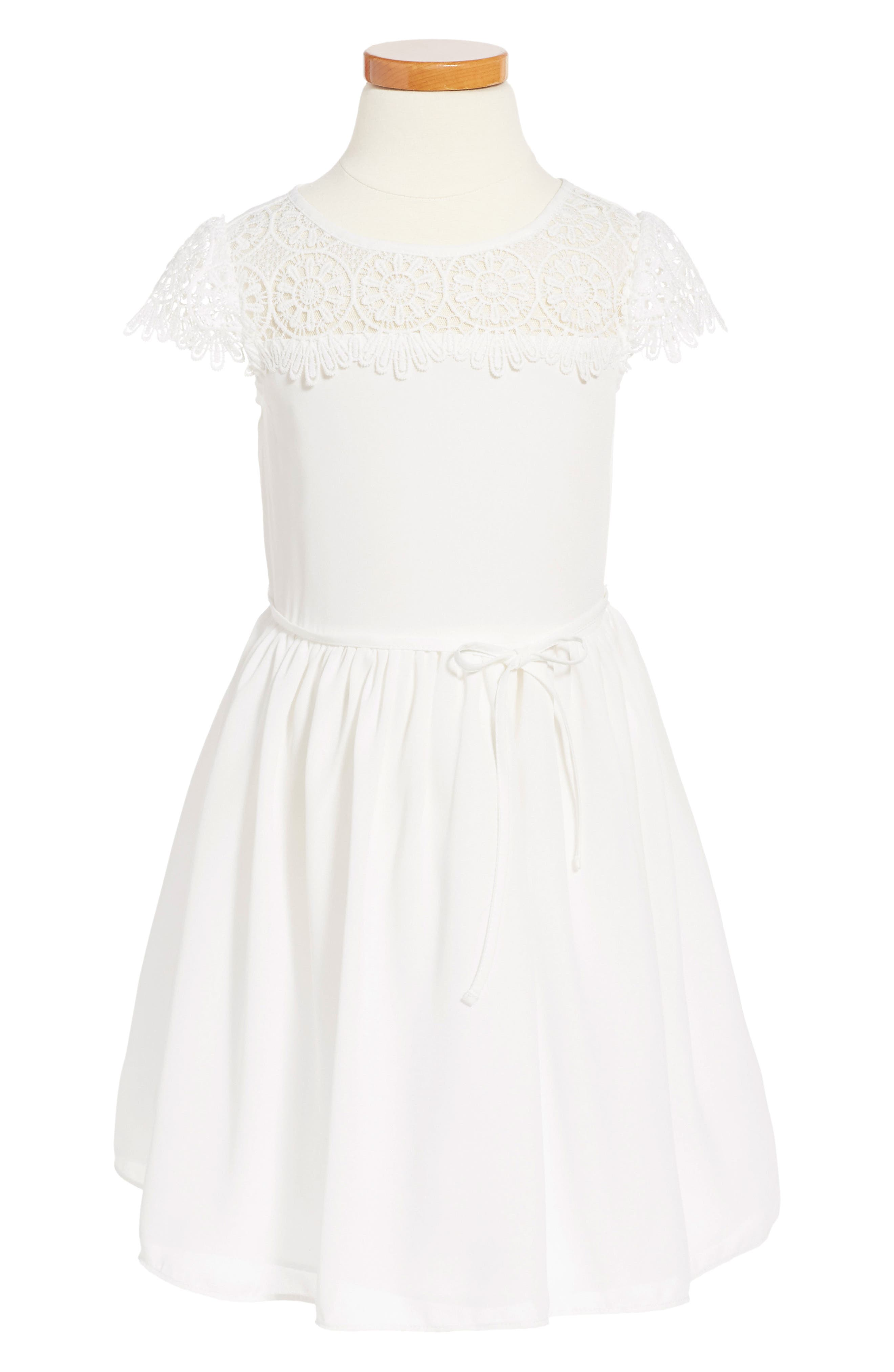 Little Angels Scalloped Crochet Yoke Party Dress (Toddler Girls & Little Girls)