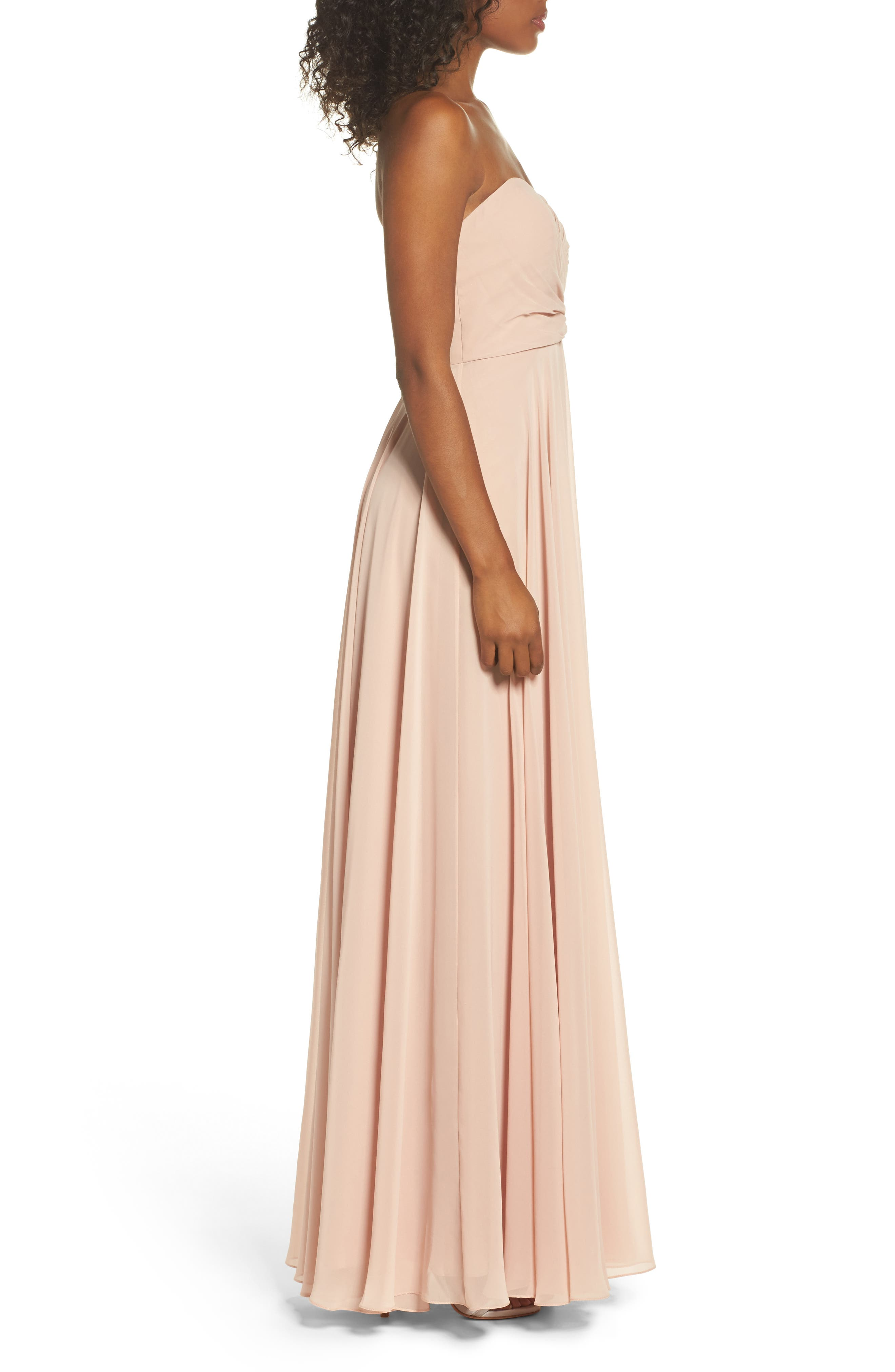 Adeline Strapless Chiffon Gown,                             Alternate thumbnail 3, color,                             Desert Rose