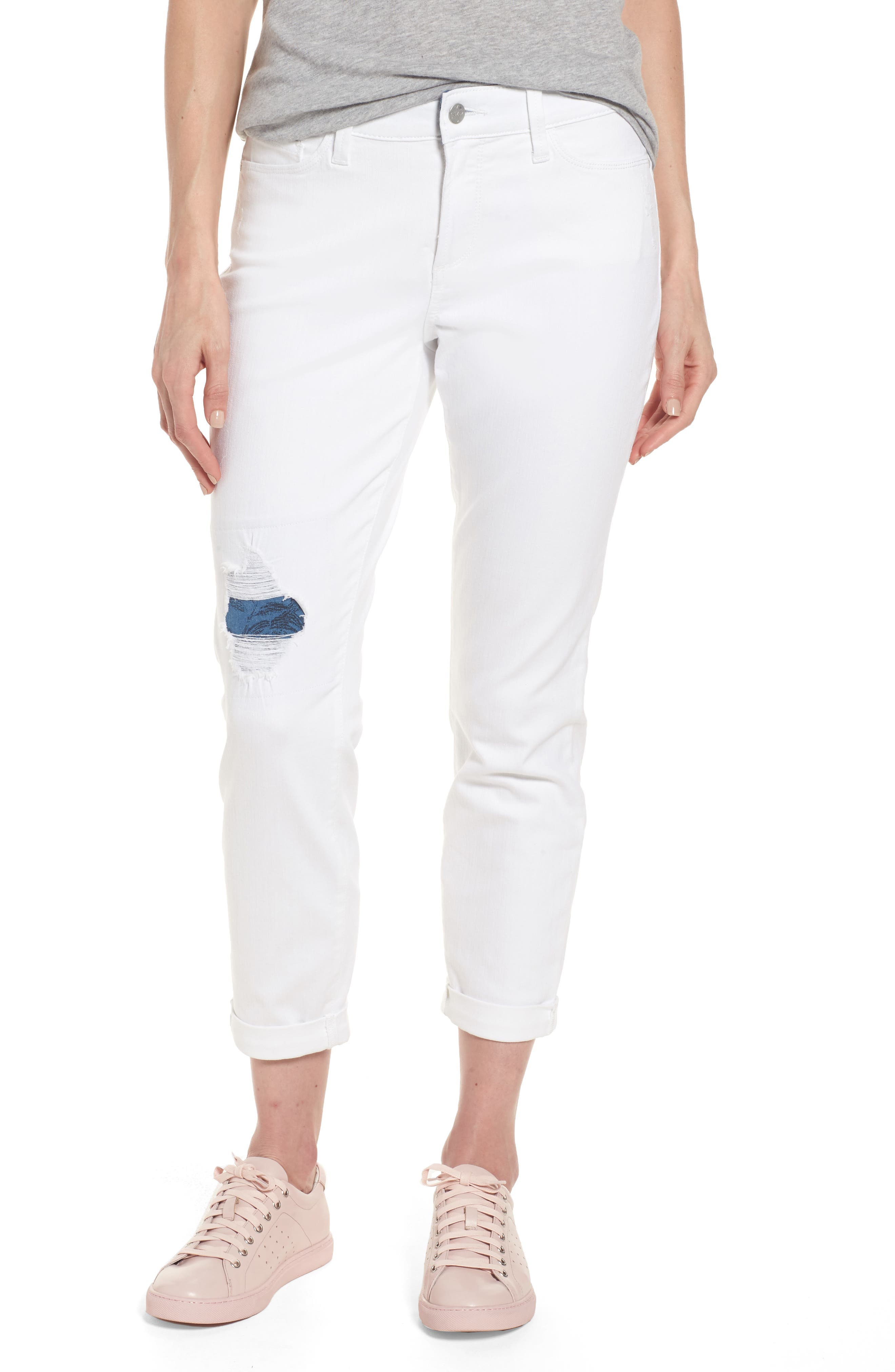 Ripped Stretch Ankle Jeans,                         Main,                         color, Destructed White