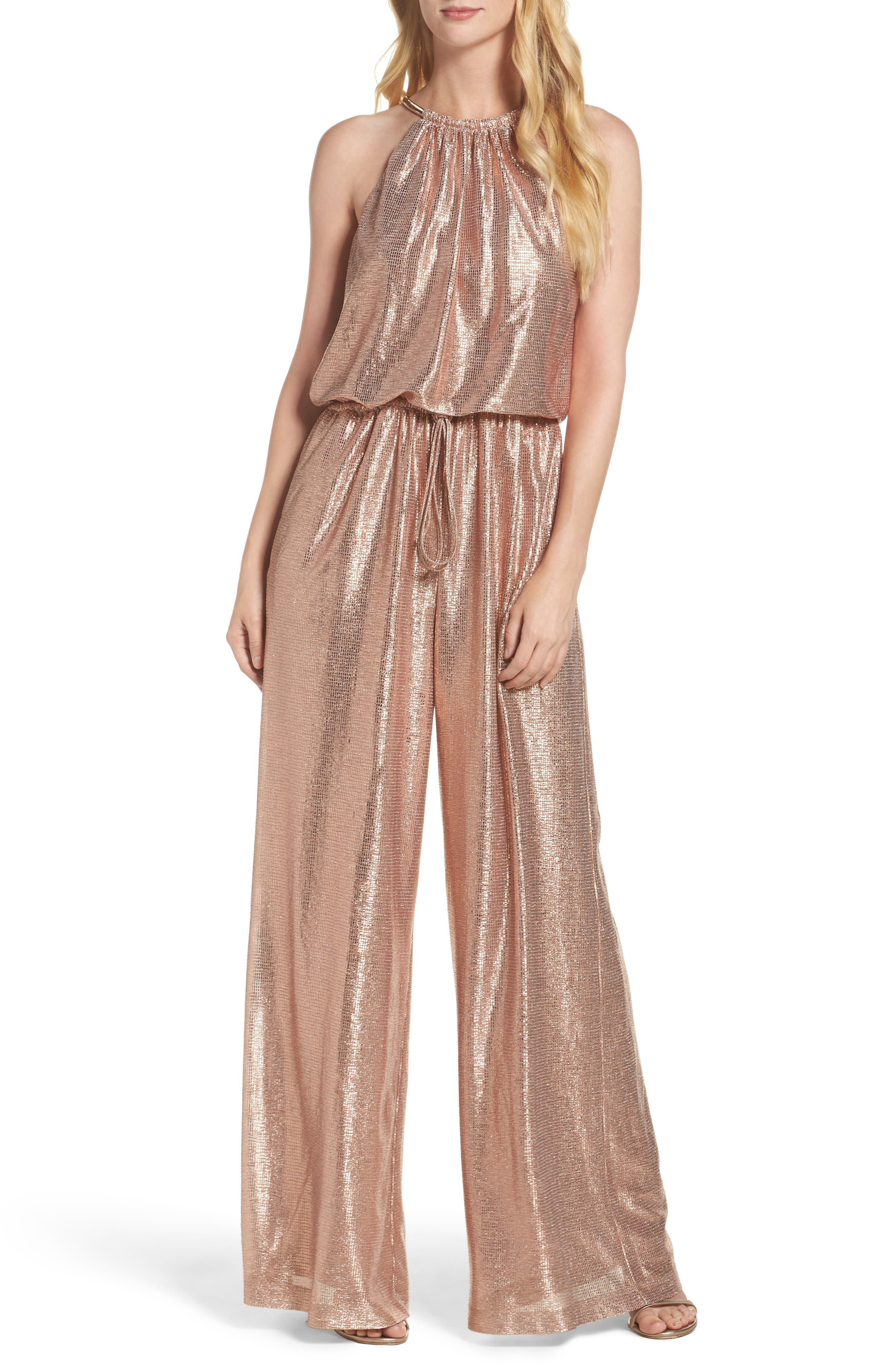 Alternate Image 1 Selected - Vince Camuto Metallic Halter Jumpsuit