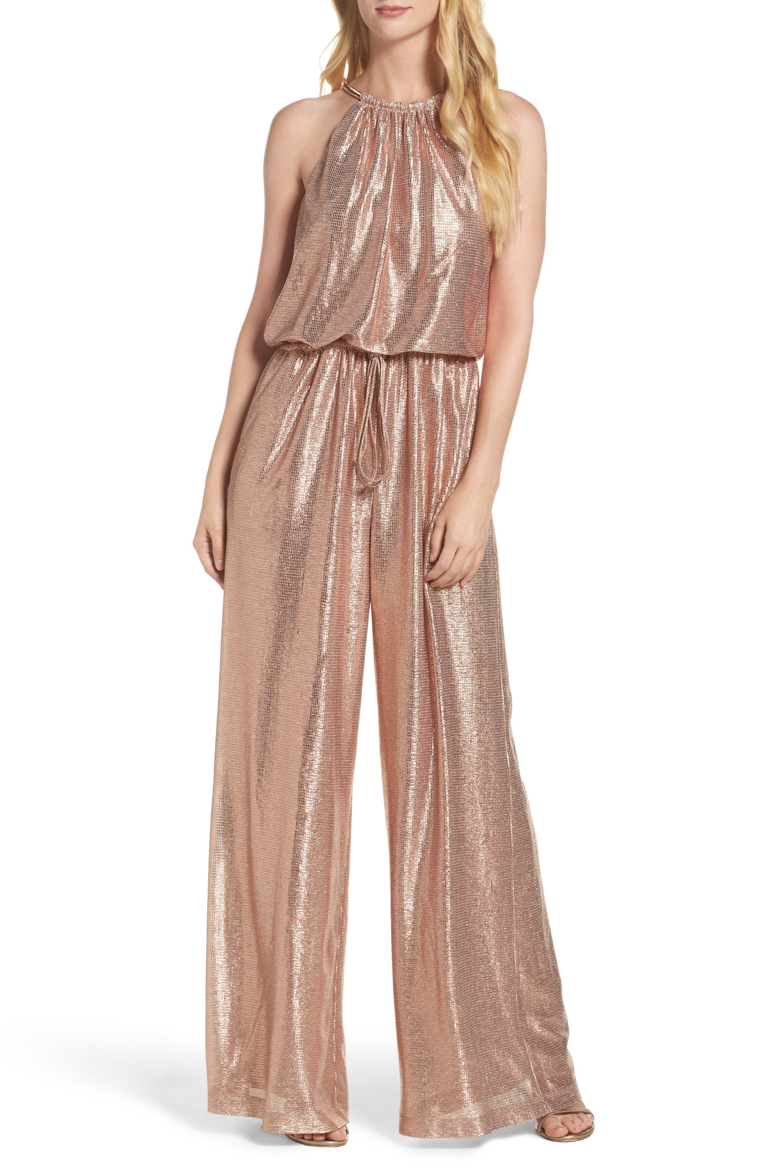 Metallic Halter Jumpsuit,                         Main,                         color, Rose Gold