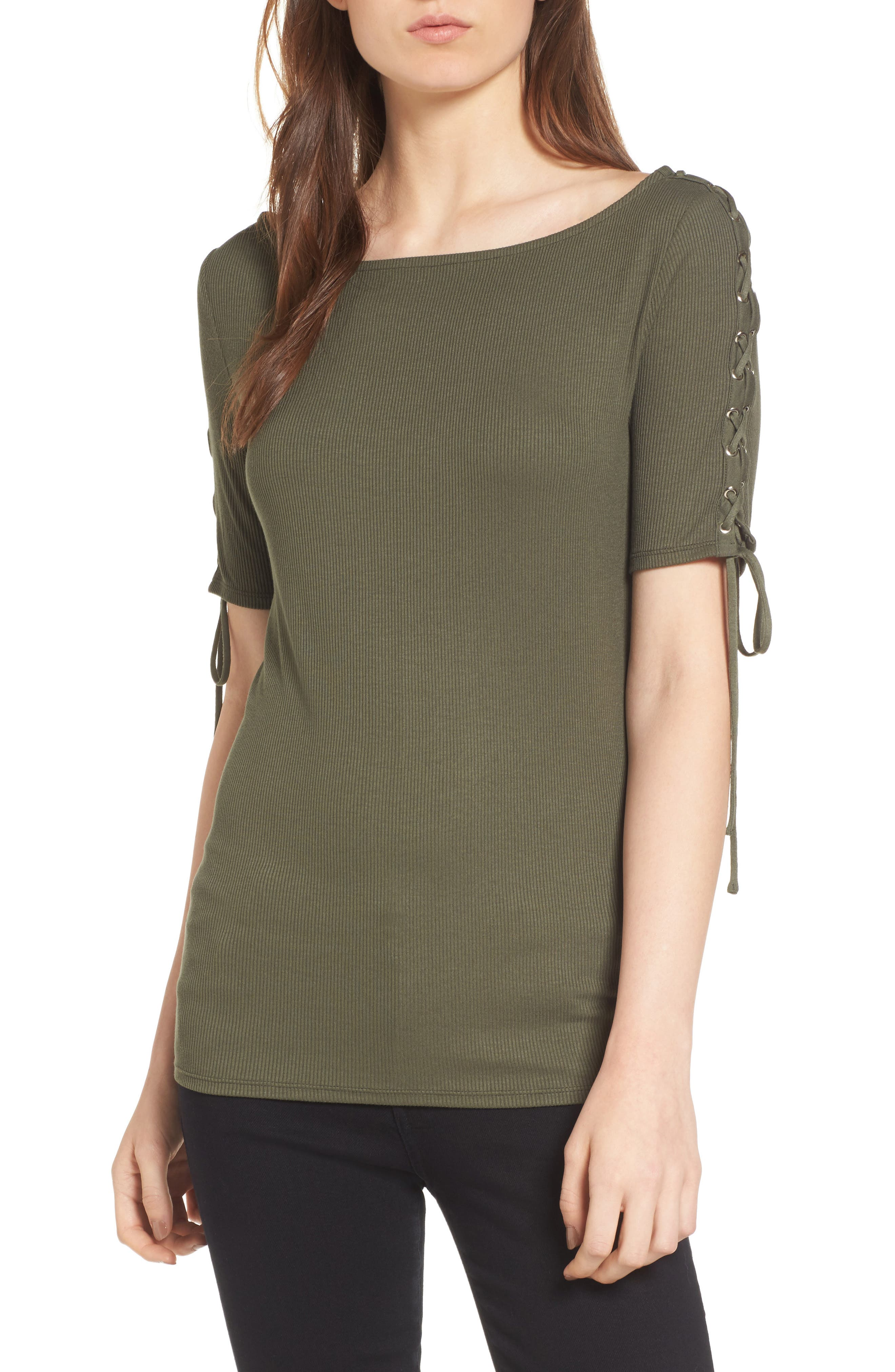 Trouvé Lace-Up Sleeve Top