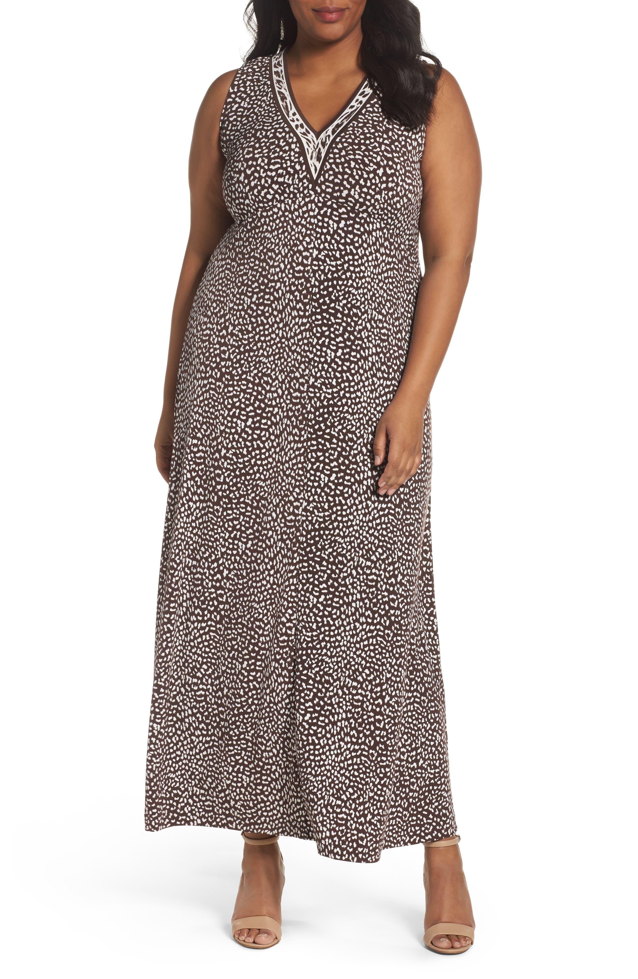 MICHAEL Michael Kors Animal Print Maxi Dress (Plus Size)