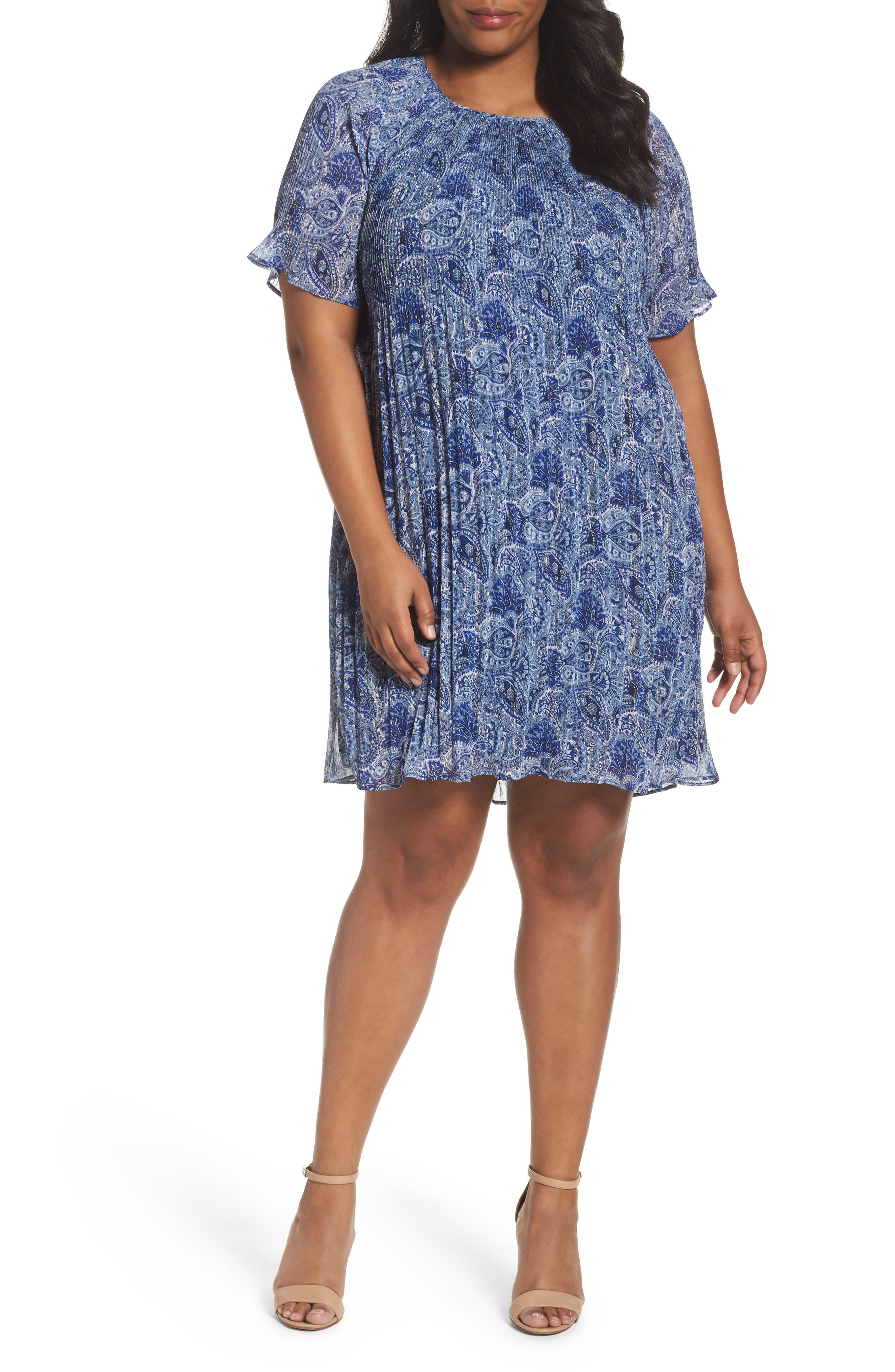 Kinley Pleat Shift Dress,                             Main thumbnail 1, color,                             True Navy