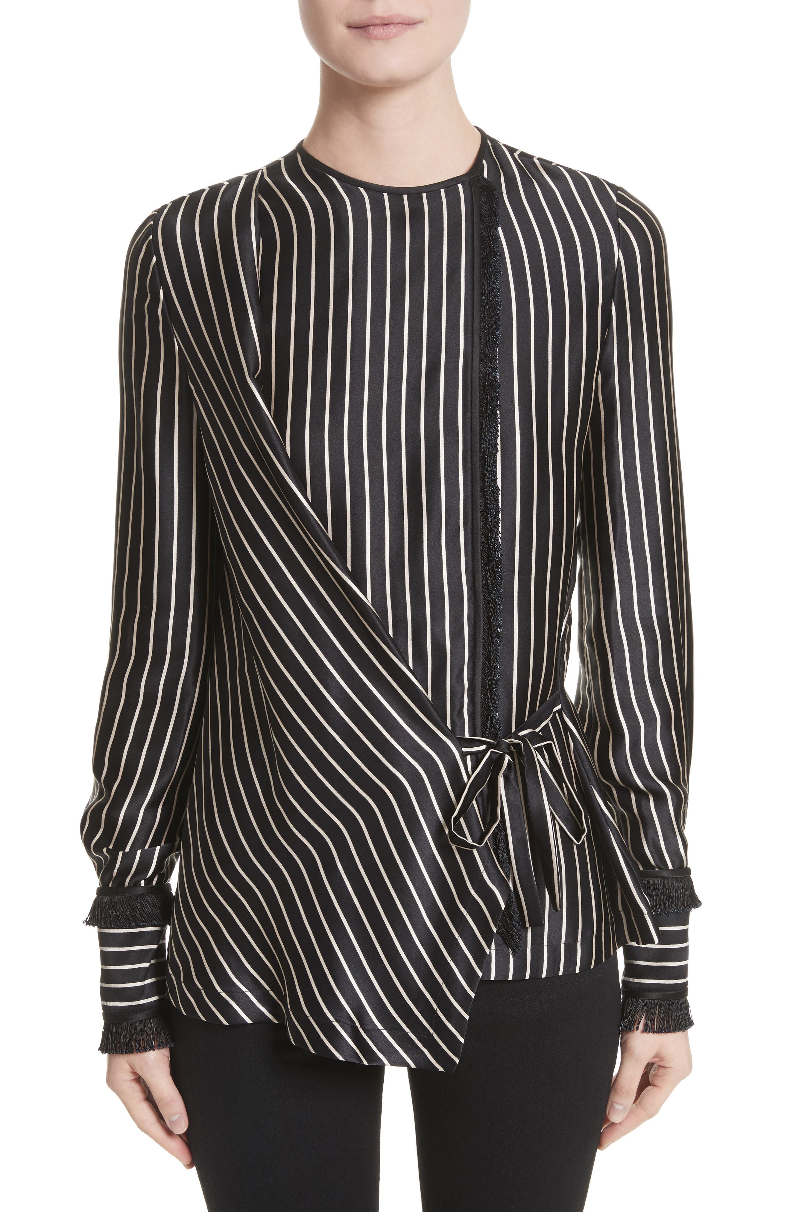 Yigal Azrouël Fringe Trim Stripe Silk Wrap Blouse